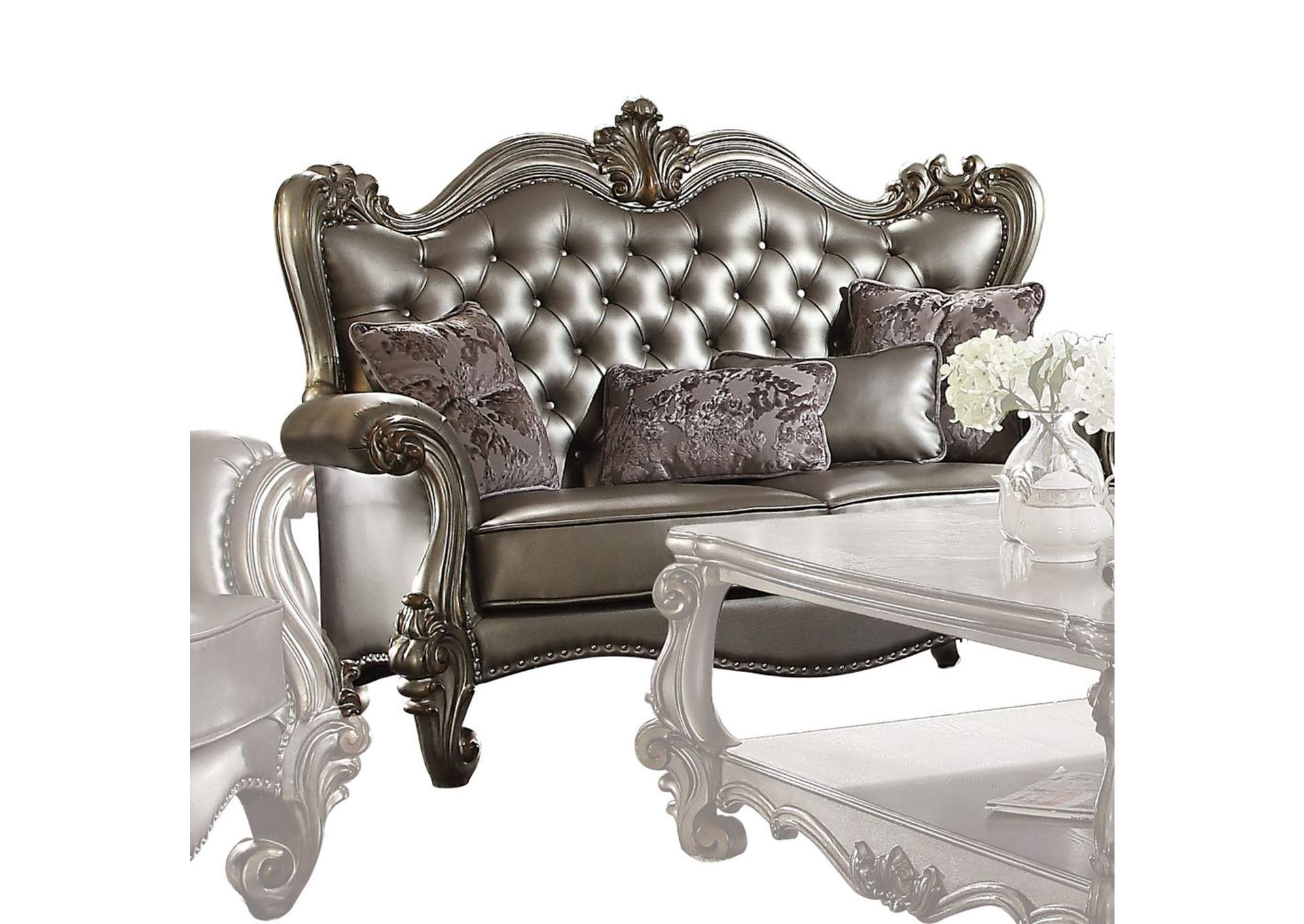 Versailles Silver PU & Antique Platinum Loveseat,Acme