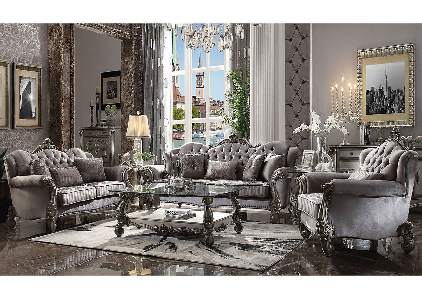 Versailles Antique Platinum Sofa and Loveseat,Acme