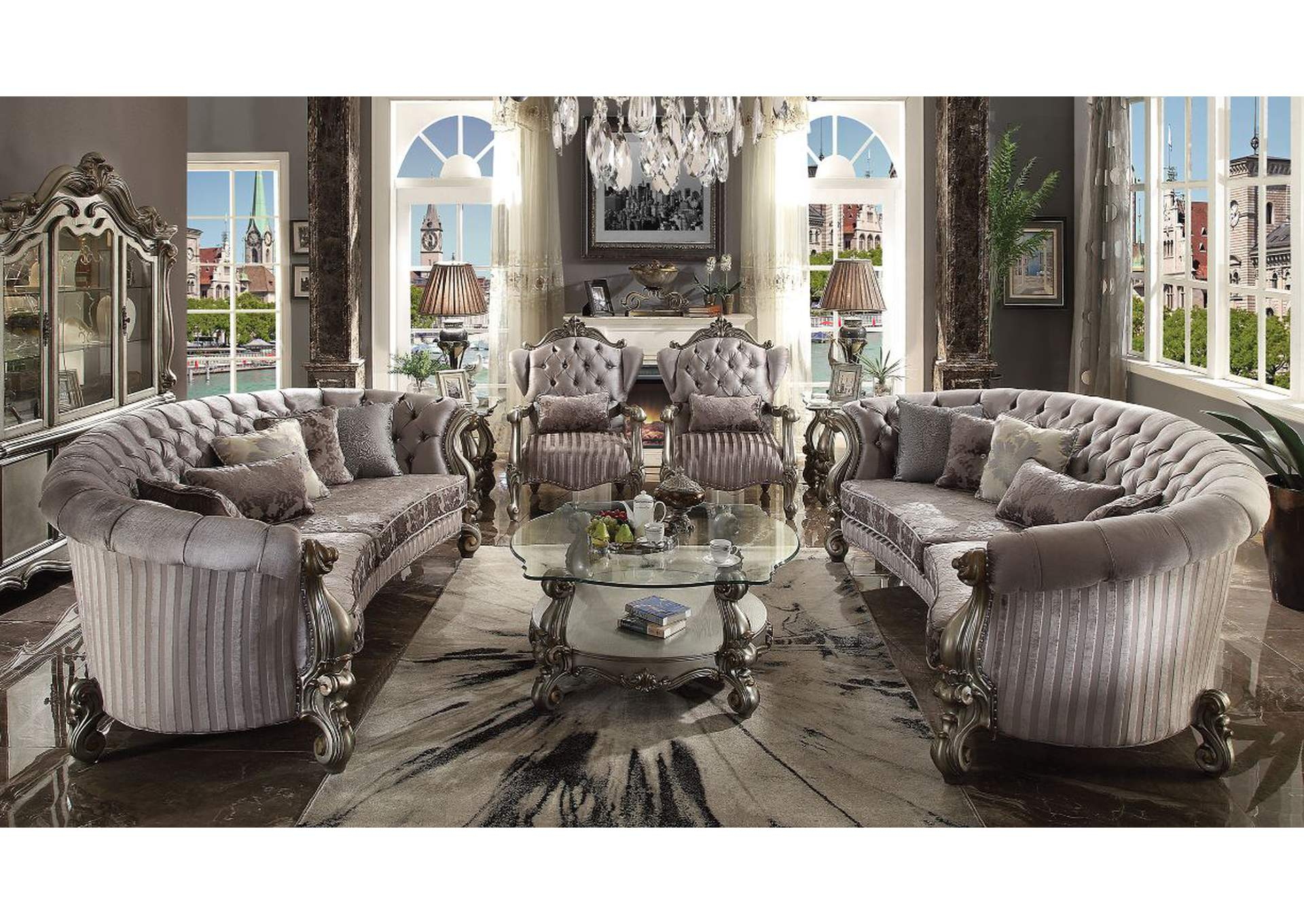 Versailles Velvet & Antique Platinum Sofa,Acme