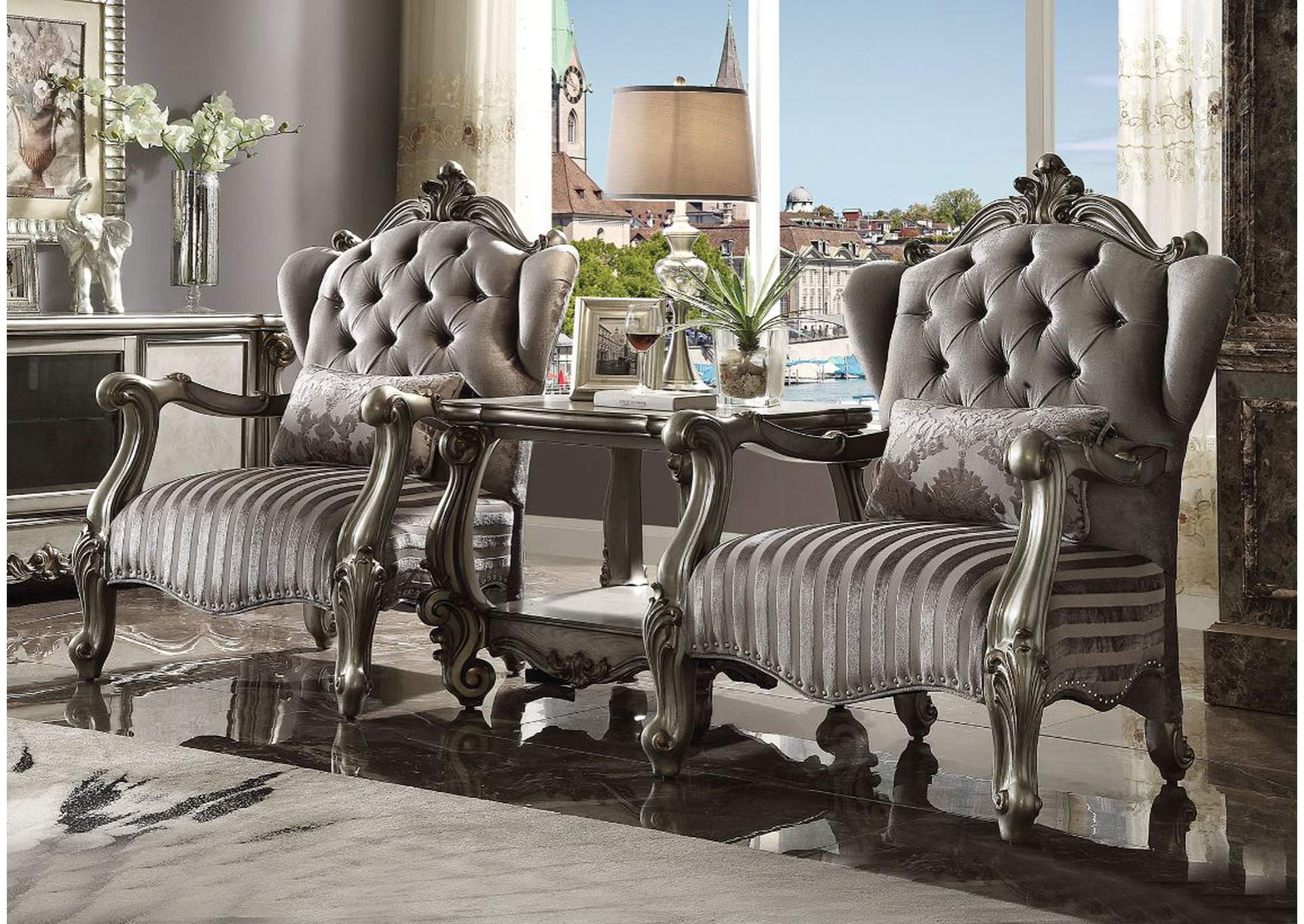 Versailles Velvet & Antique Platinum Chair,Acme