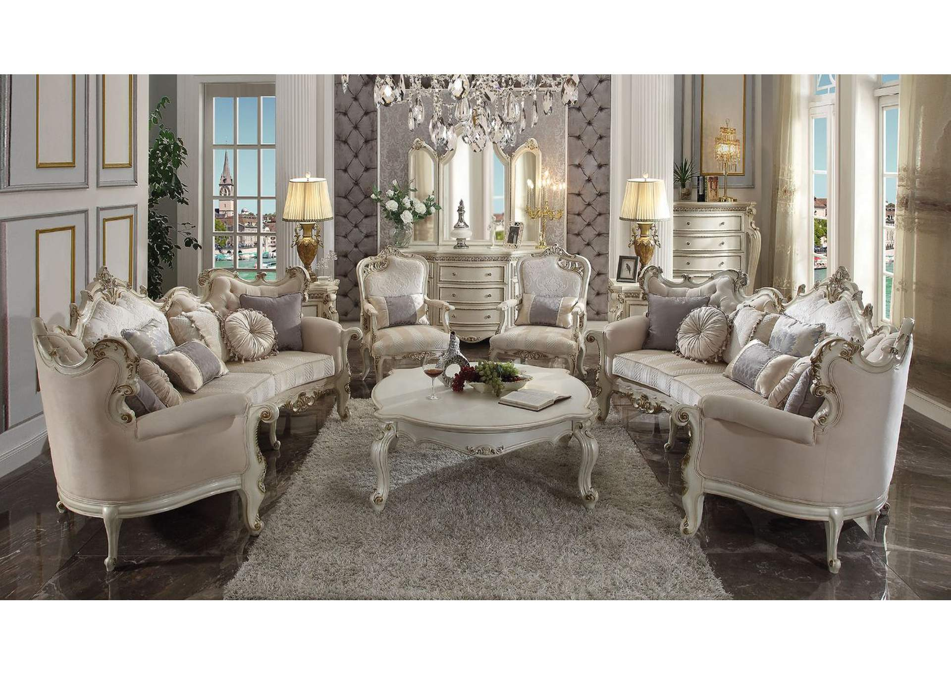 Picardy Fabric & Antique Pearl Sofa,Acme