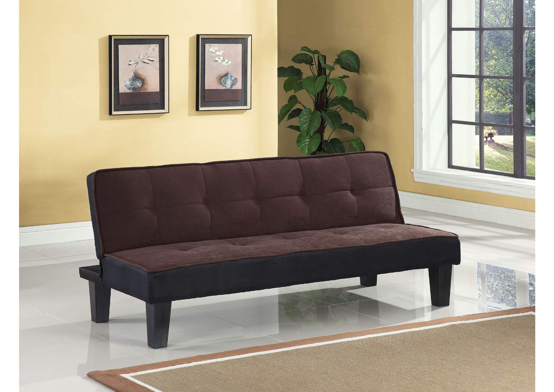 Hamar Chocolate Flannel Fabric Futon,Acme