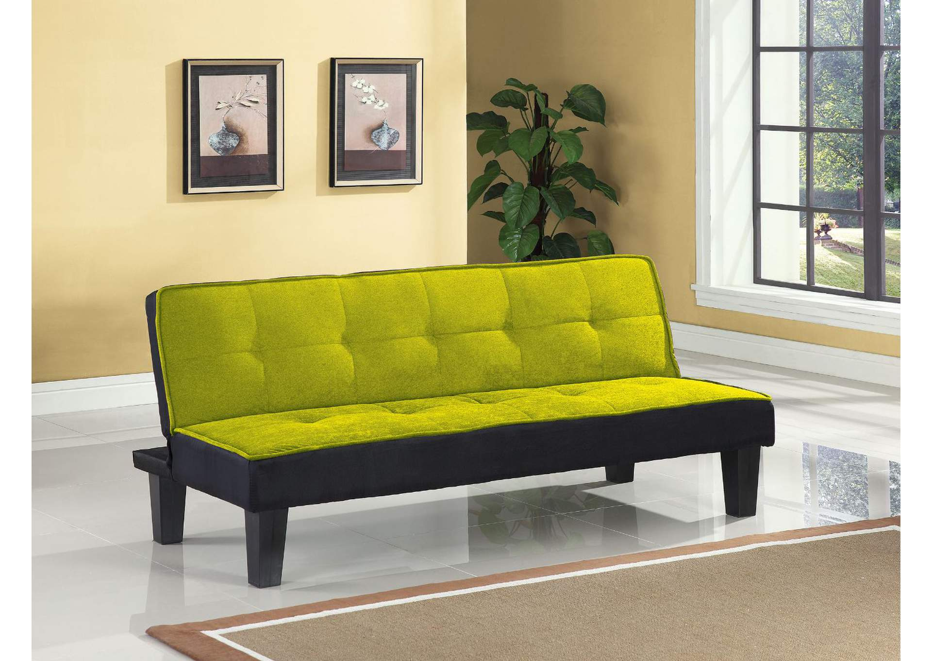 Hamar Green Flannel Fabric Futon,Acme