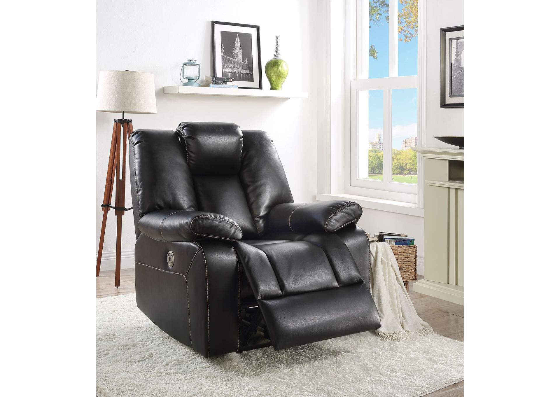 Jailene Black Leather-Aire Recliner,Acme