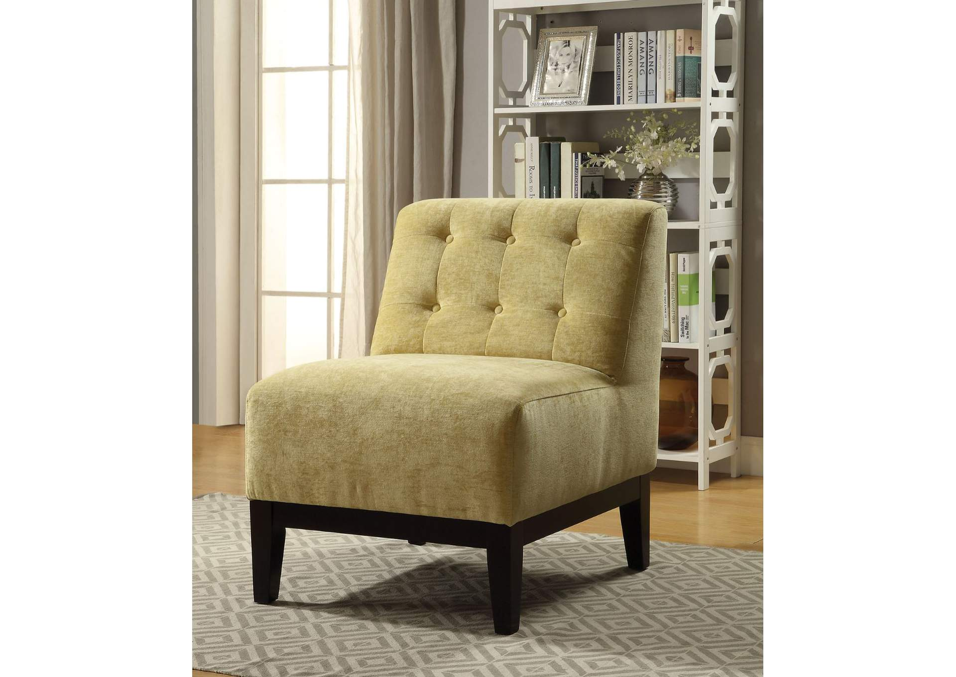 Cassia Yellow Fabric Accent Chair,Acme