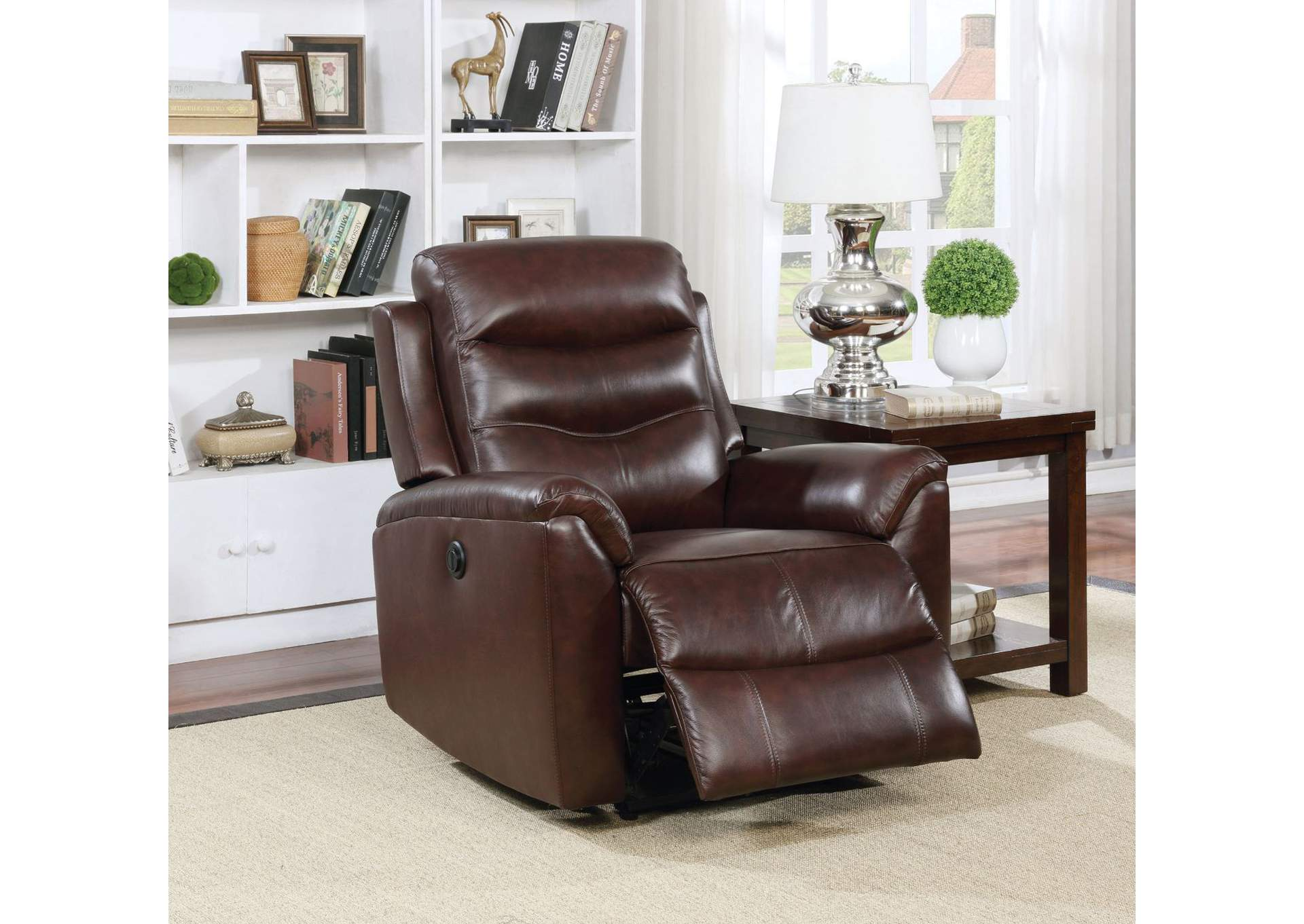 Ava Brown Top Grain Leather Recliner,Acme