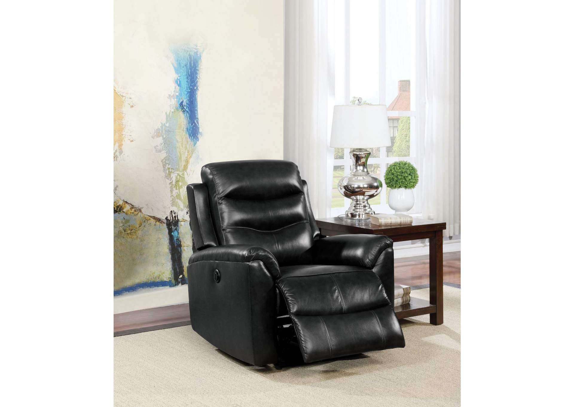 Ava Black Top Grain Leather Match Recliner,Acme