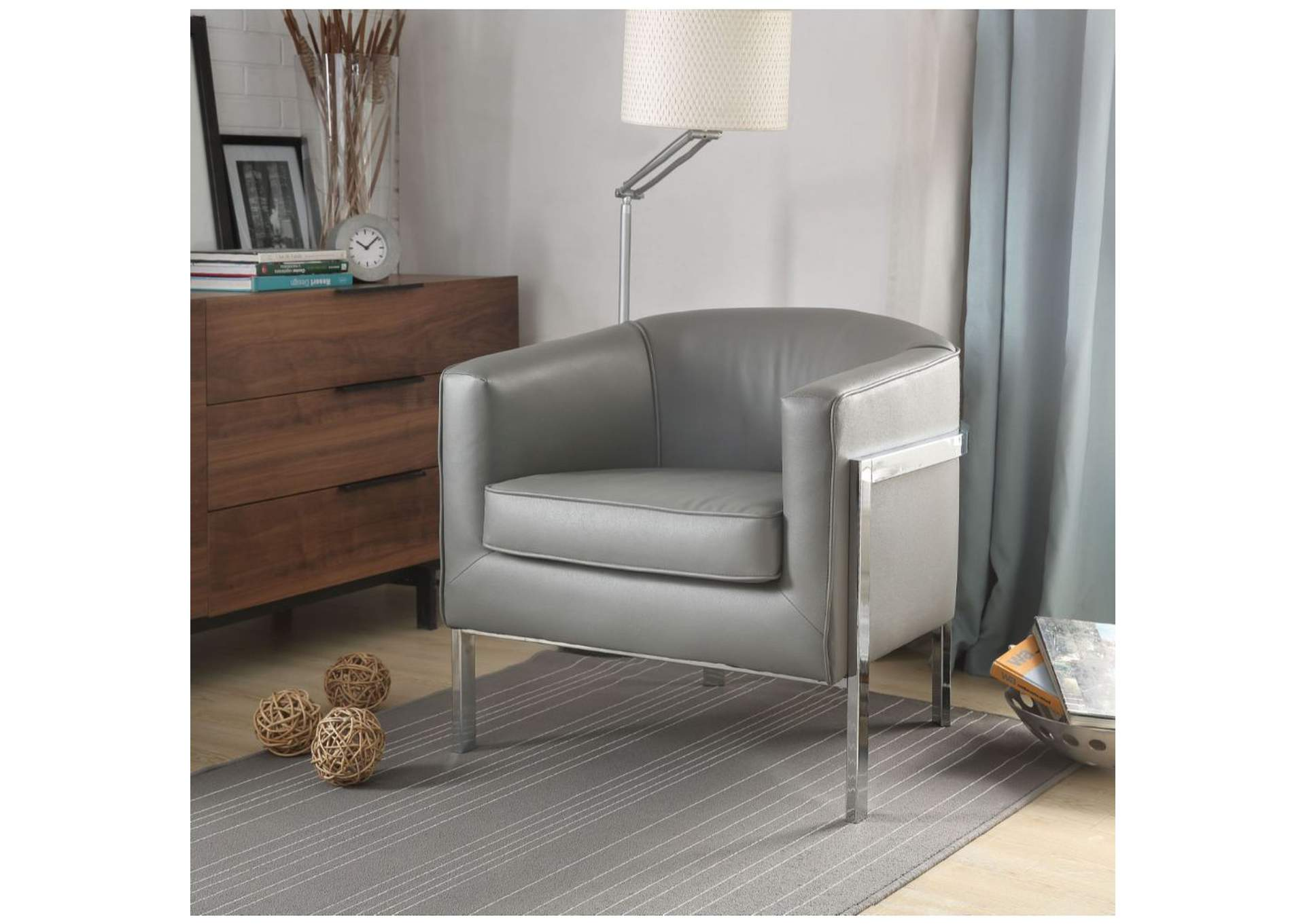 Tiarnan Vintage Gray PU & Chrome Accent Chair,Acme