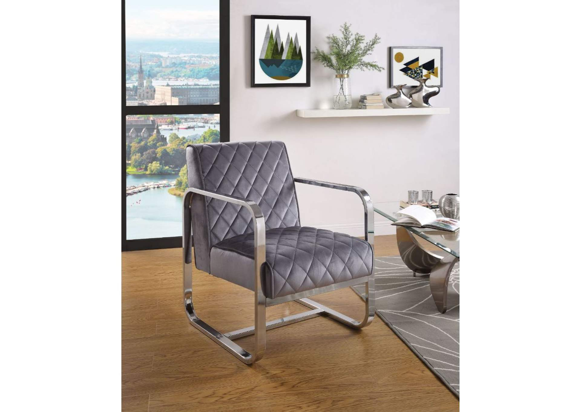 Tasmine Gray Velvet & Chrome Accent Chair,Acme
