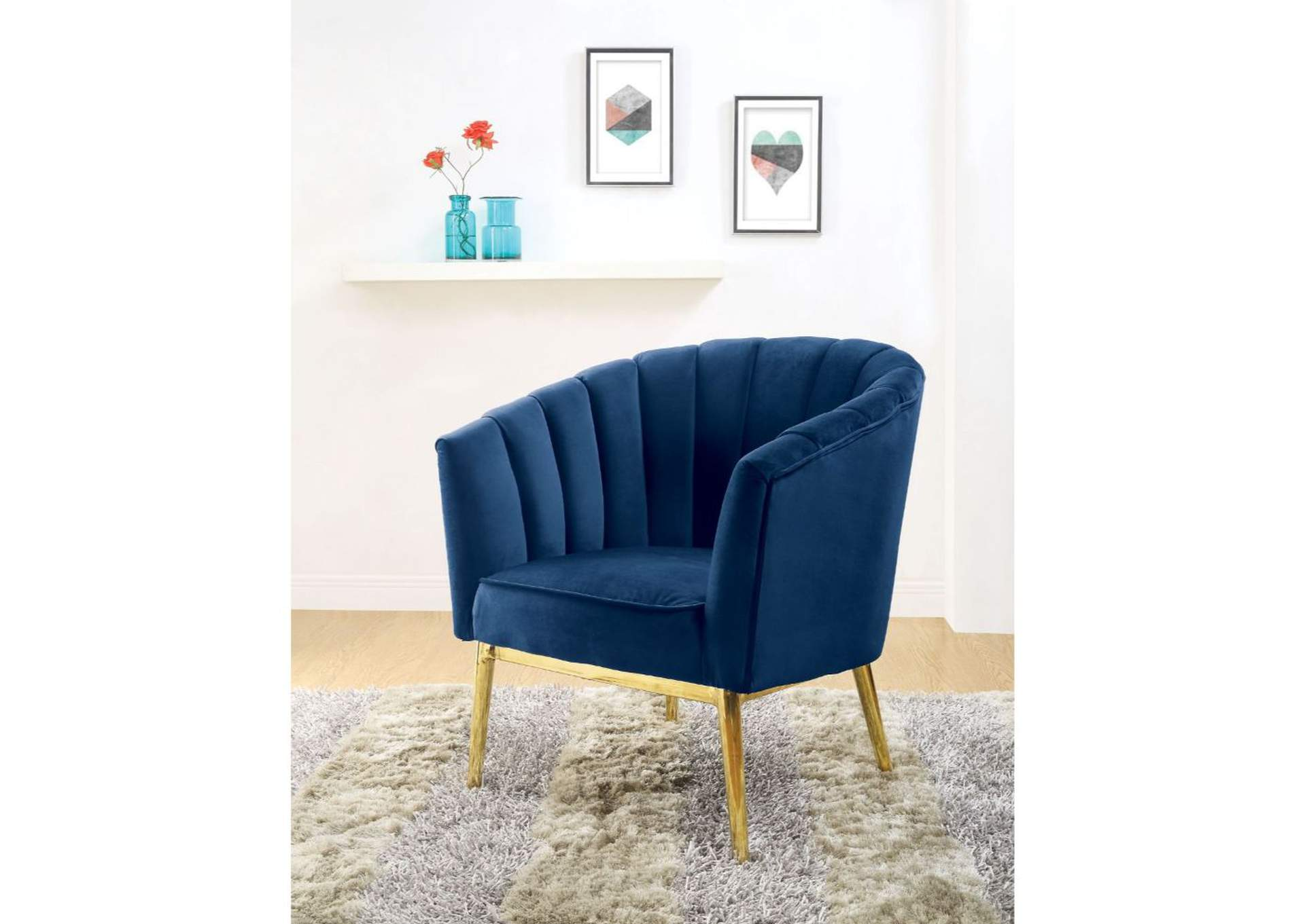 Colla Blue/Gold Accent Chair,Acme