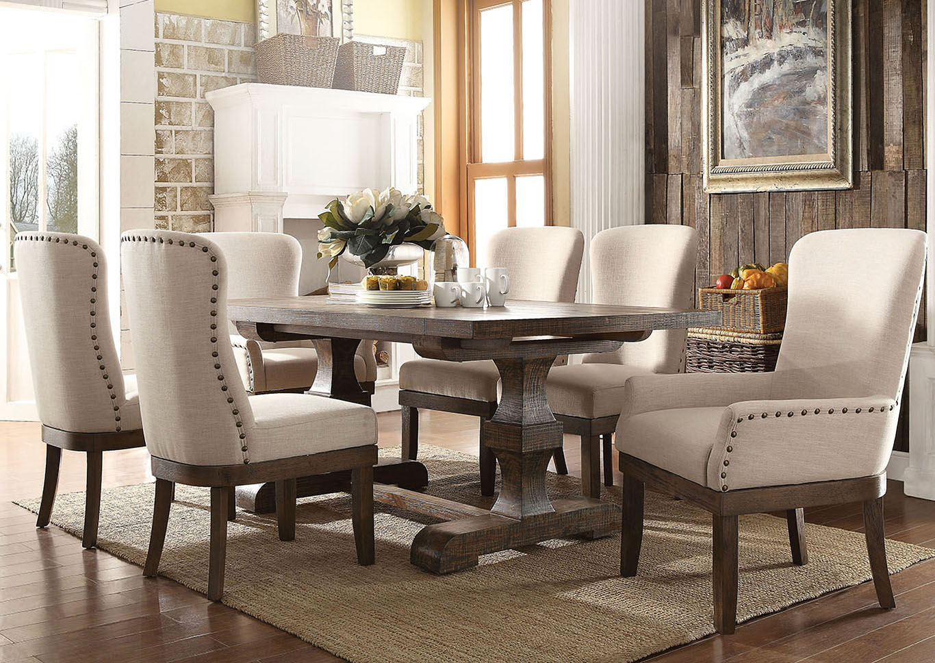Landon Salvage Brown Extendable Dining Table w/2 Arm & 4 Side Chair,Acme