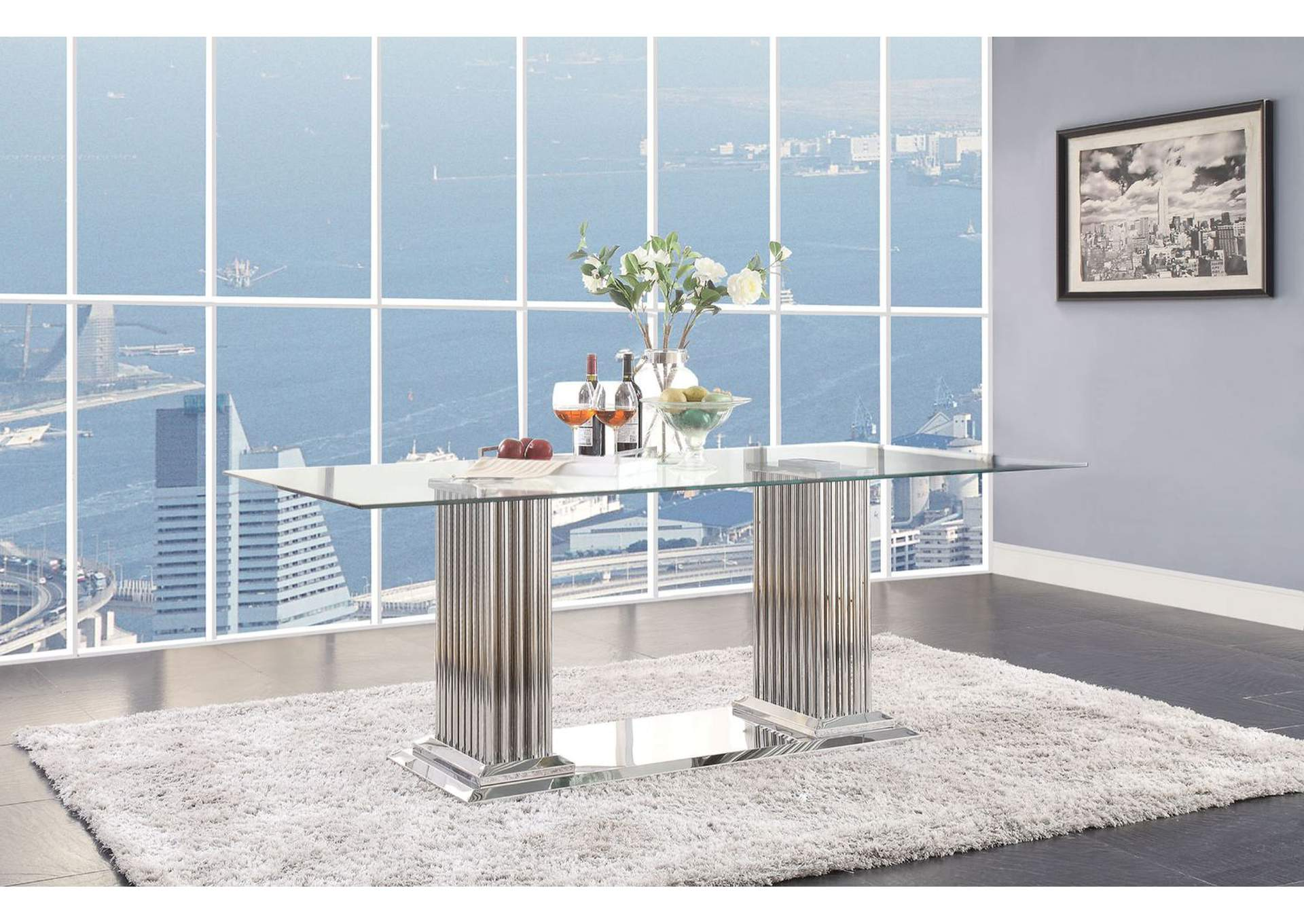 Cyrene Stainless Steel Dining Table,Acme