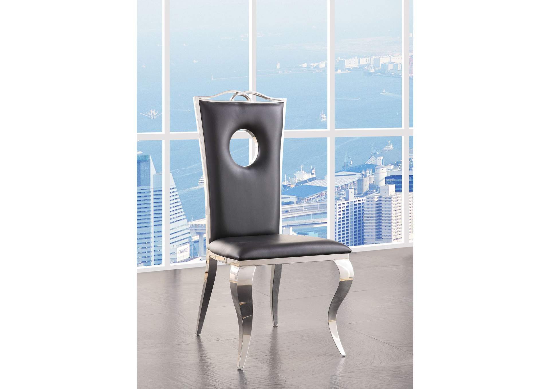 Cyrene Stainless Steel Side Chair (Set of 2),Acme