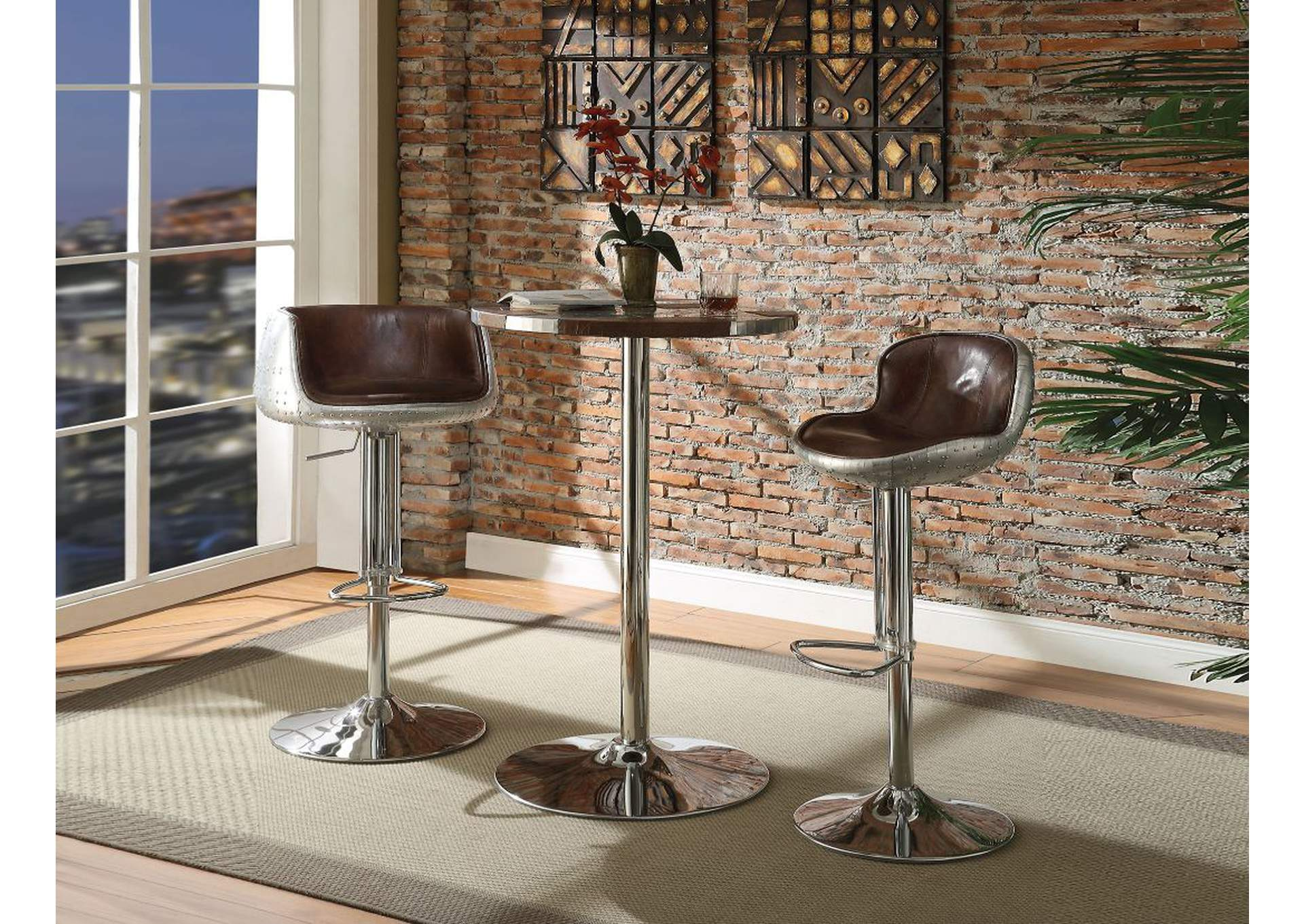 Brancaster Retro Brown/Aluminum Bar Table,Acme
