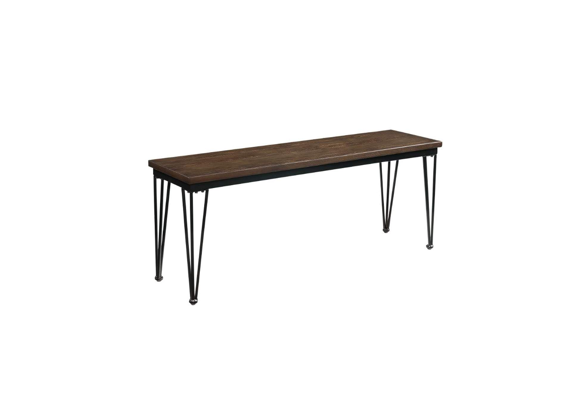 Garron Walnut & Black Bench,Acme