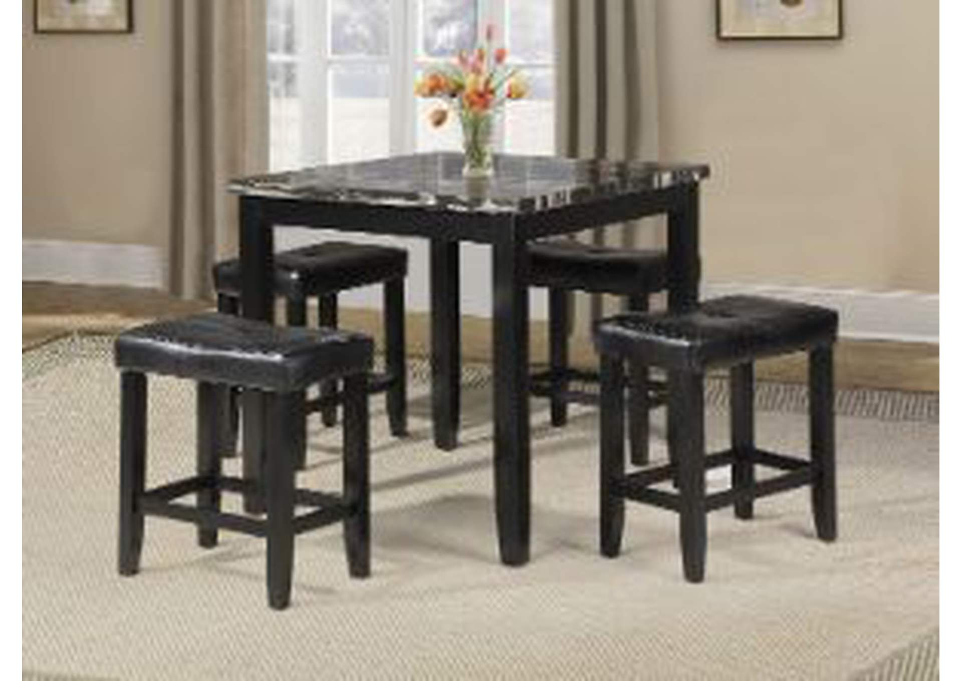 Blythe Eerie Black 5 Piece Counter Height Dining Set,Acme