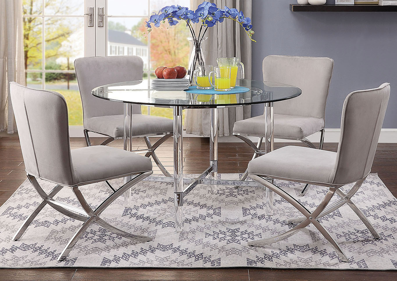 Daire Chrome/Clear Glass Dining Table,Acme