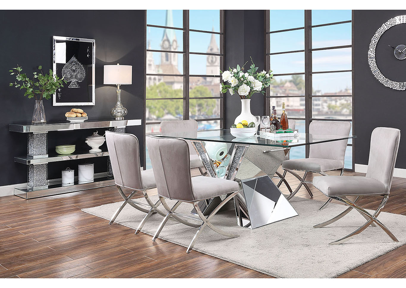 Noralie Mirrored Faux Diamonds Dining Table,Acme