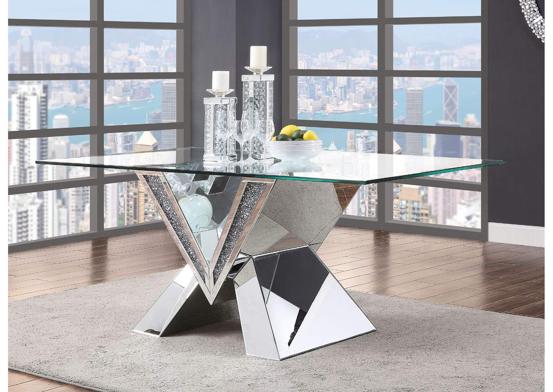 Noralie Mirrored, Faux Diamonds & Clear Glass Dining Table,Acme