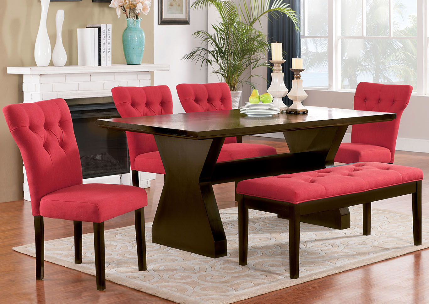 Effie Red/Walnut Side Chair (Set of 2),Acme