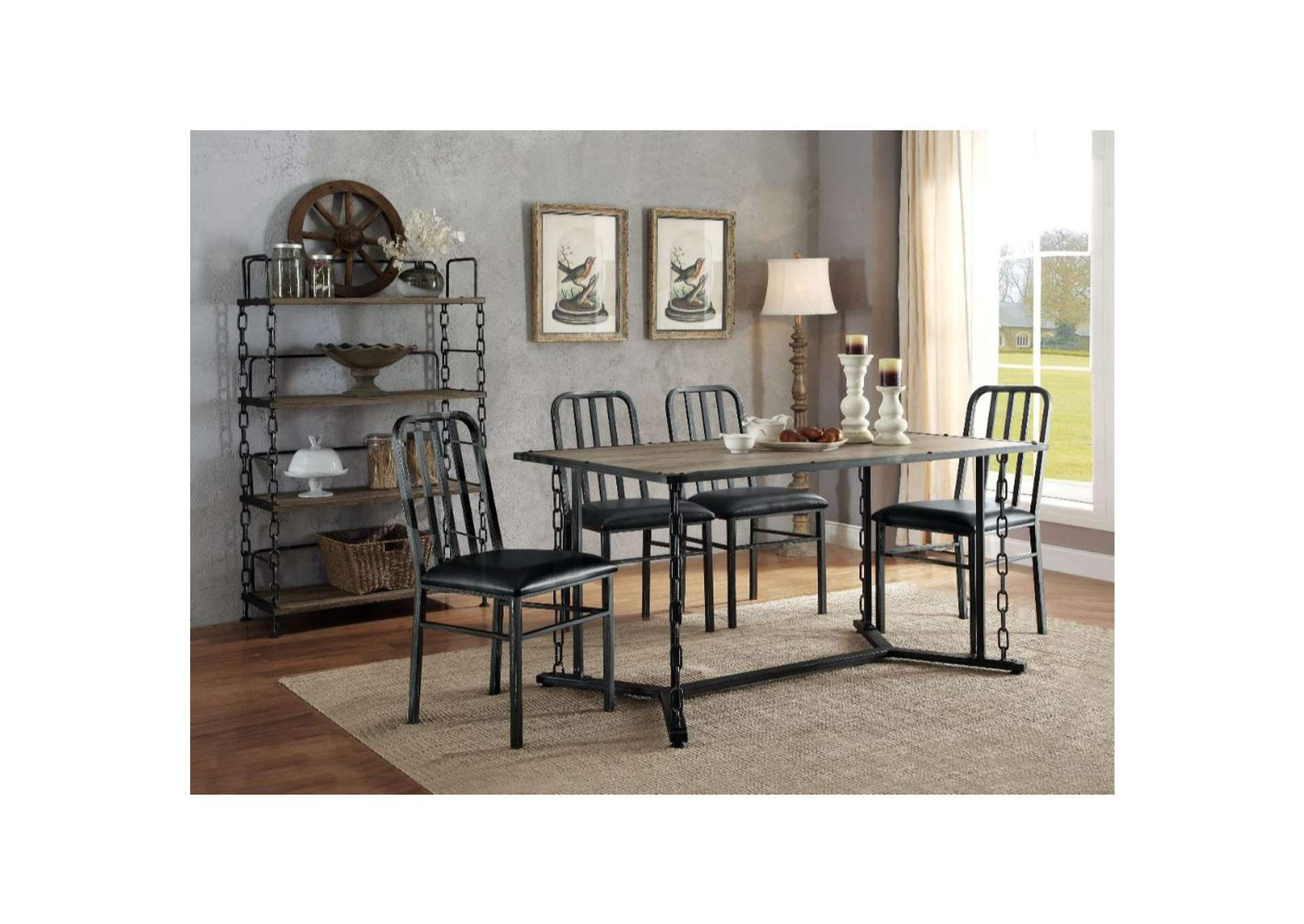 Picture of: Jodie Rustic Oak Black Dining Table Jerusalem Furniture Philadelphia
