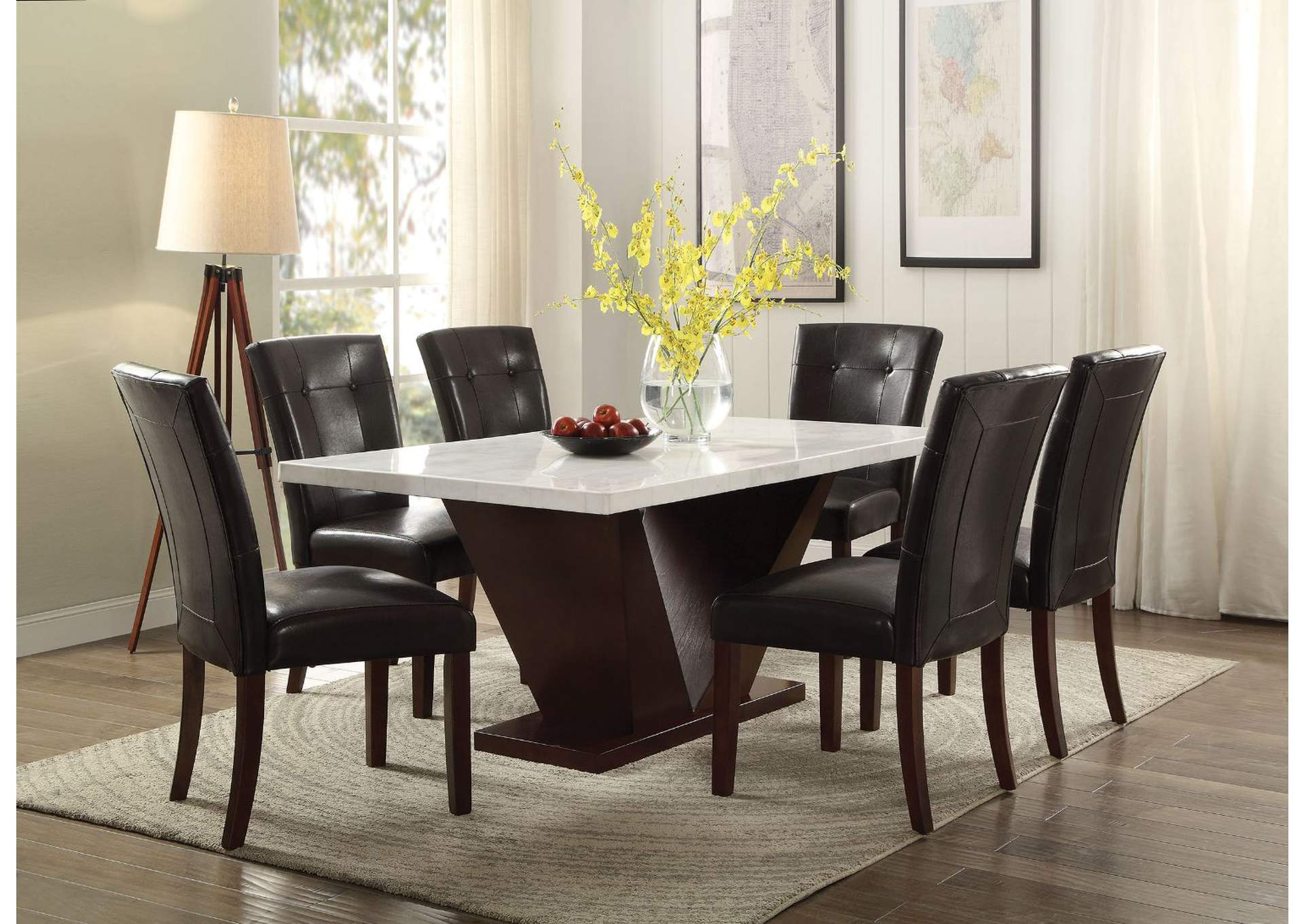 Forbes White Marble & Walnut Dining Table,Acme