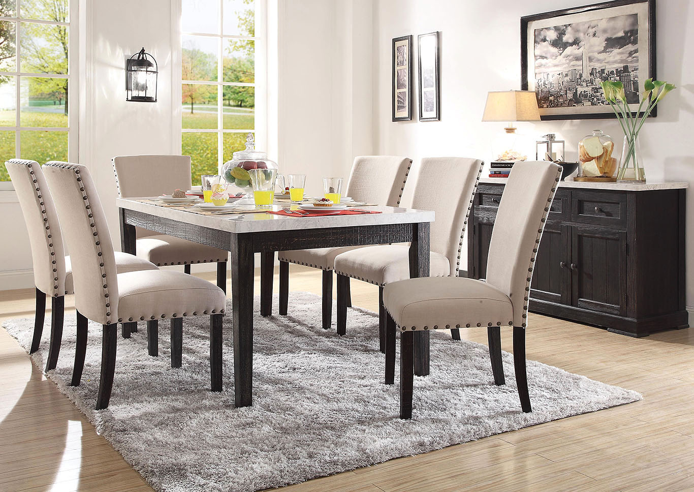 Nolan White Marble/Salvage Oak Dining Table,Acme