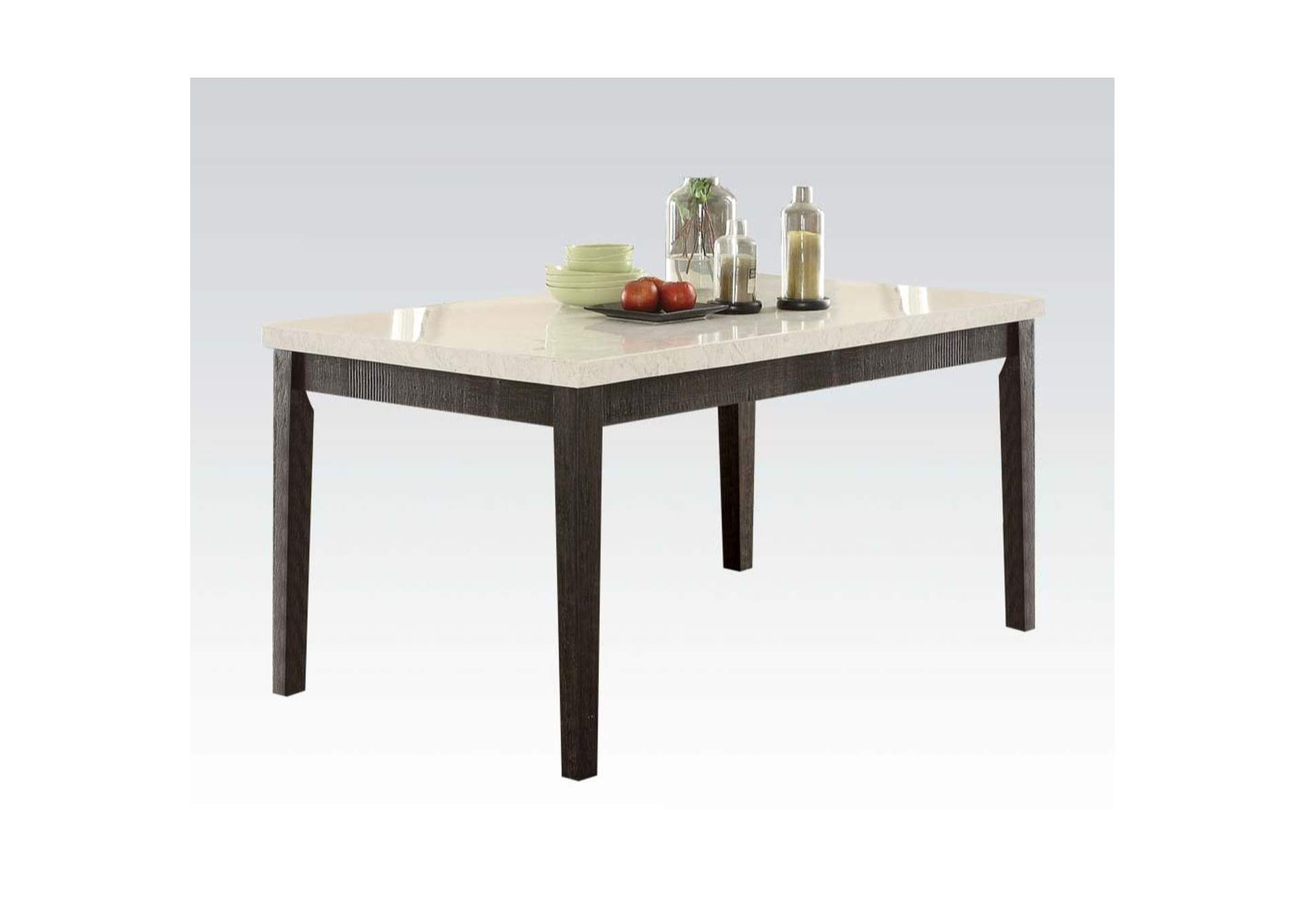 Nolan White Marble & Salvage Dark Oak Dining Table,Acme