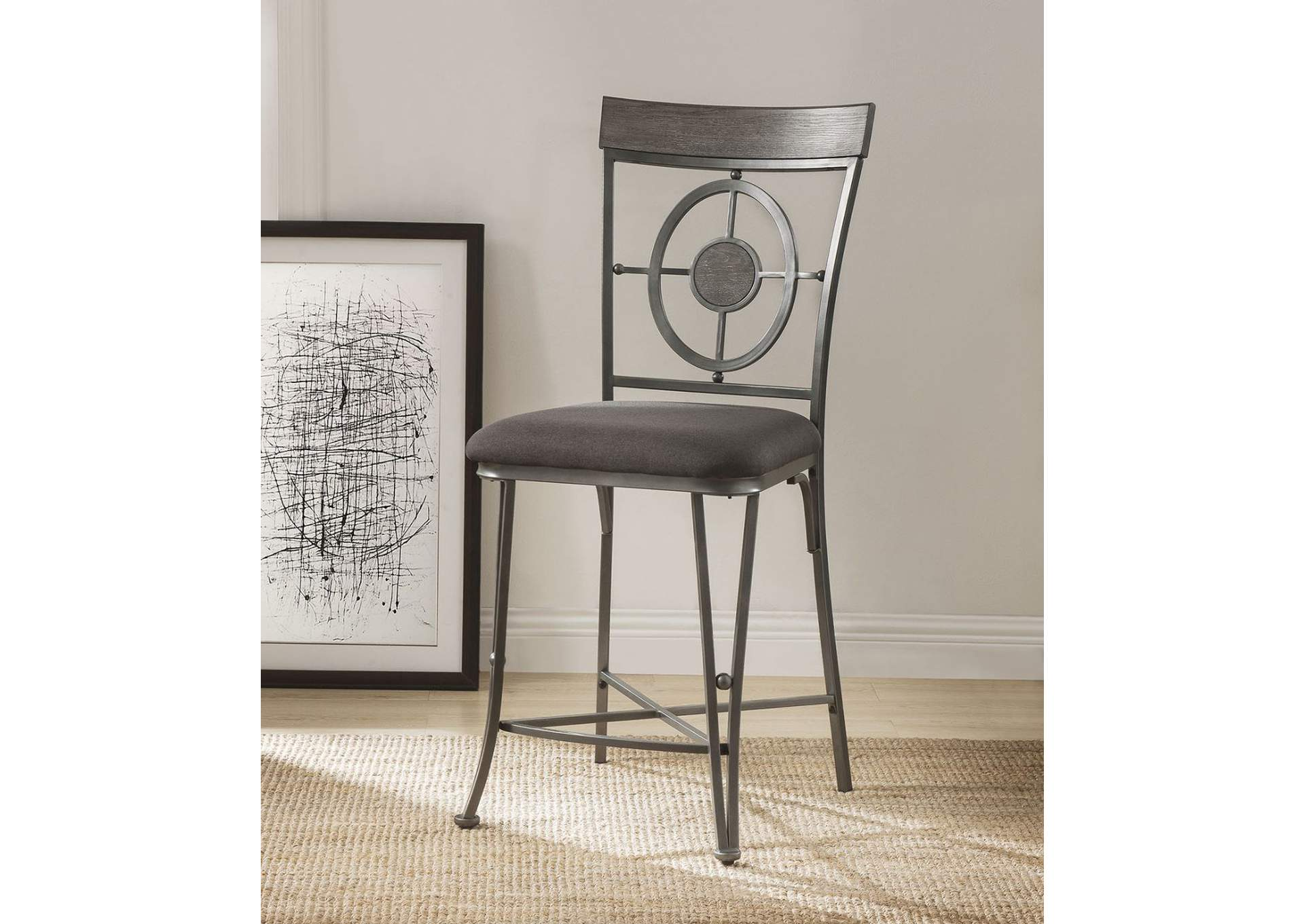 Landis Gunmetal Counter Chair (Set of 2),Acme