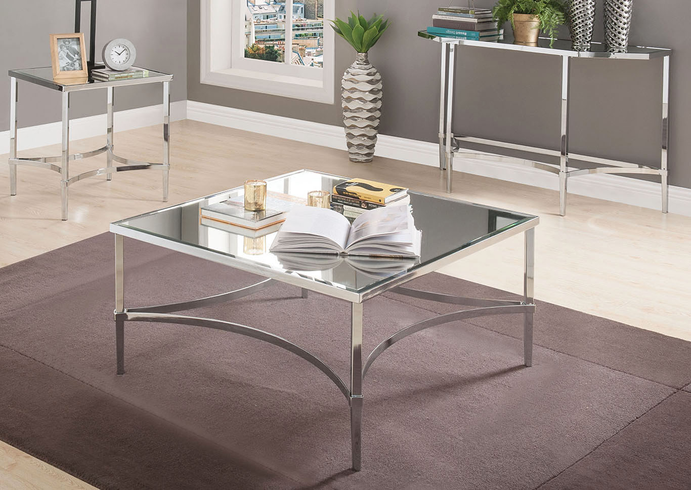 Petunia Chrome/Mirrored Coffee Table,Acme