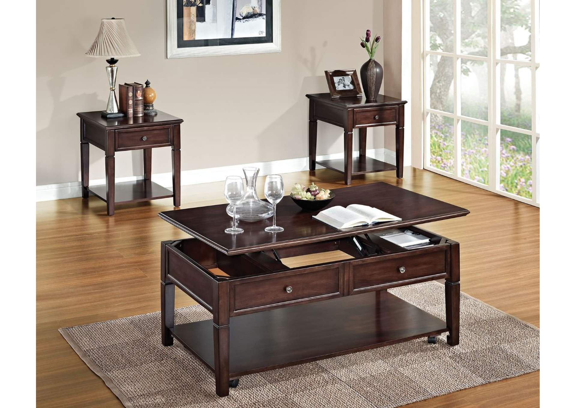 Malachi Walnut End Table,Acme
