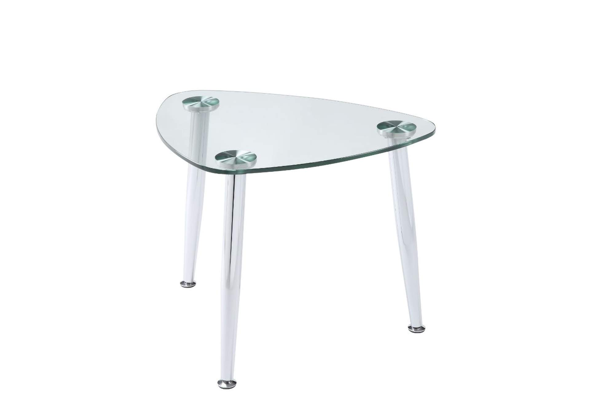 Phlox Chrome & Clear Glass End Table,Acme