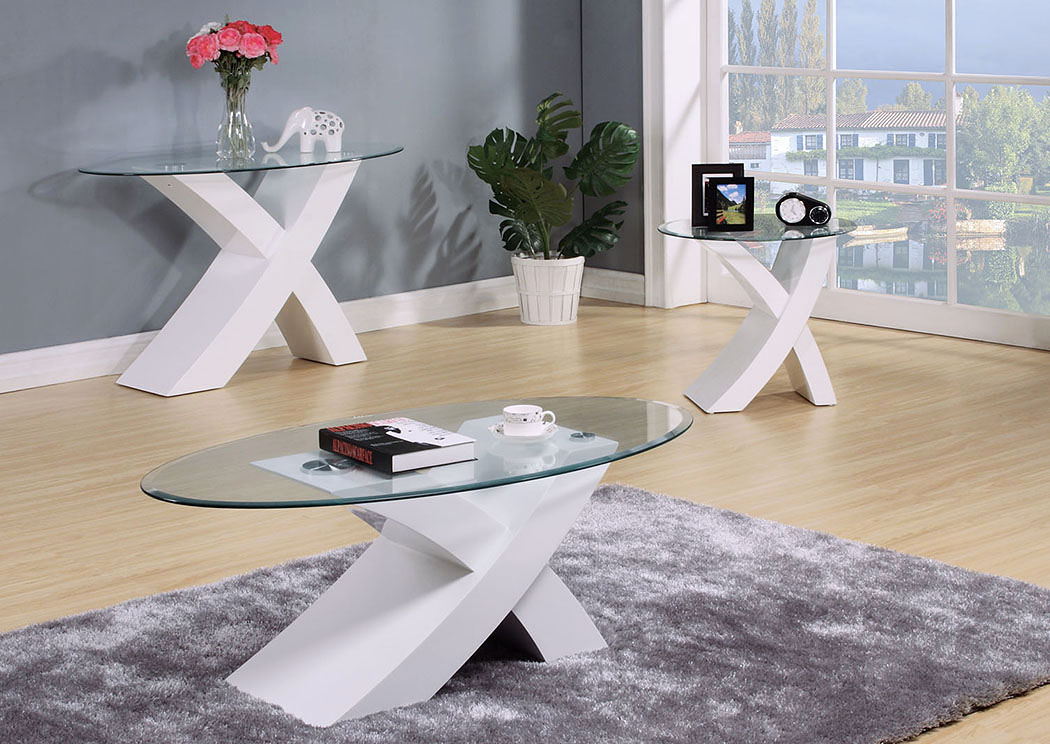Pervis White Coffee Table,Acme