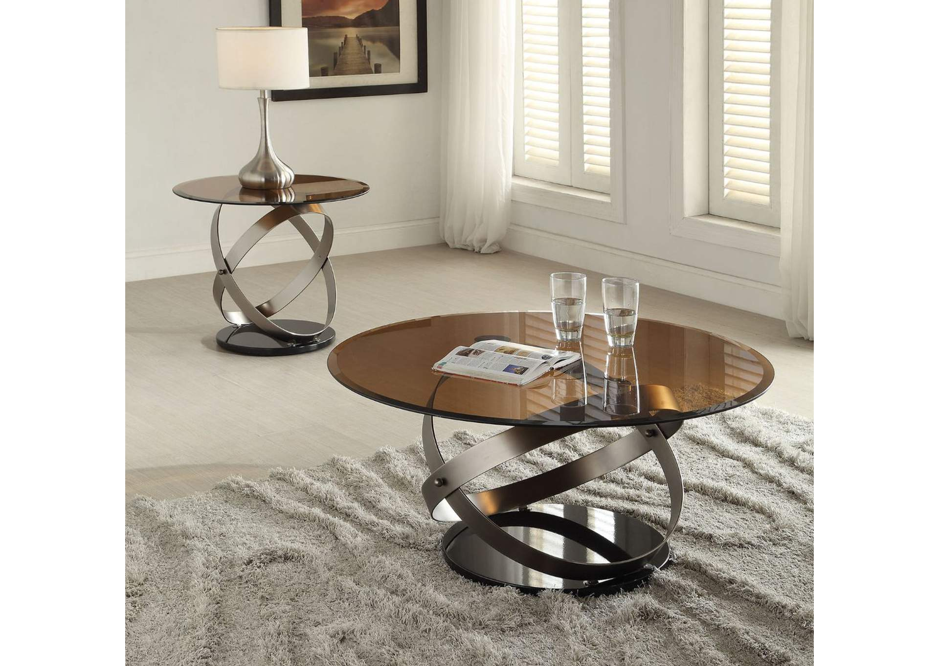 Olly Satin/Black & Smoky Glass Coffee Table,Acme