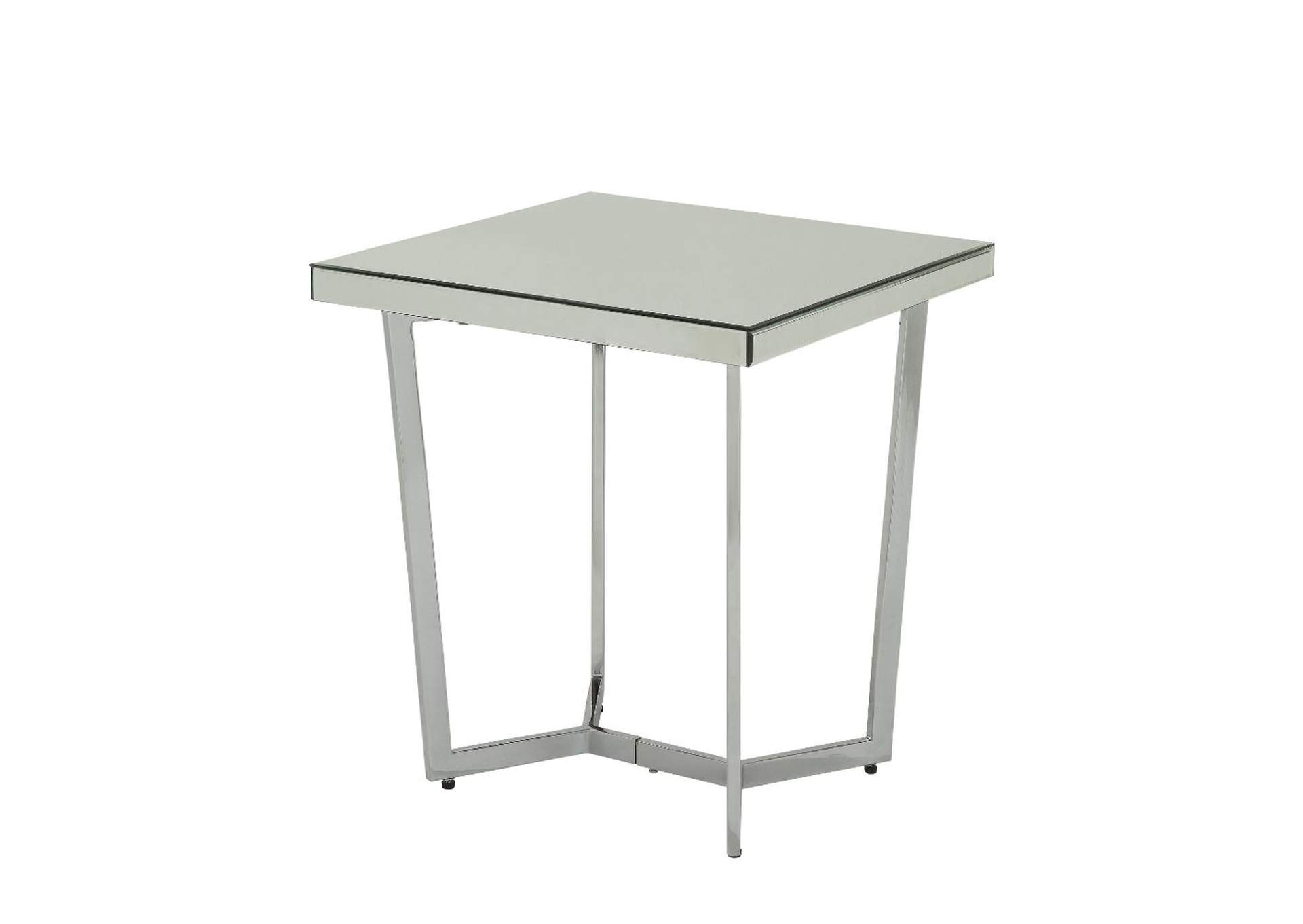 Hastin Mirrored/Chrome End Table,Acme