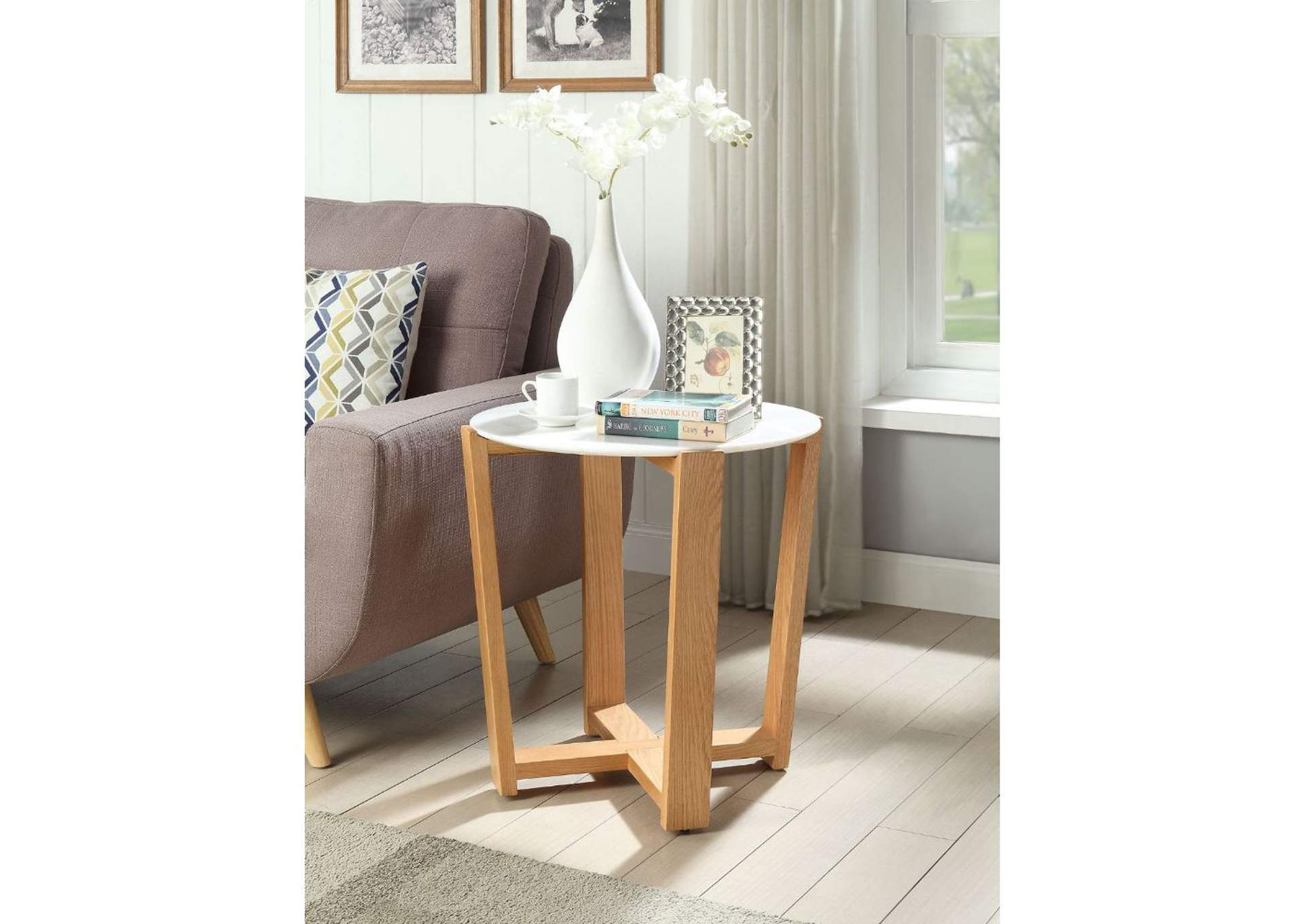 Tartan Marble & Natural Accent Table,Acme