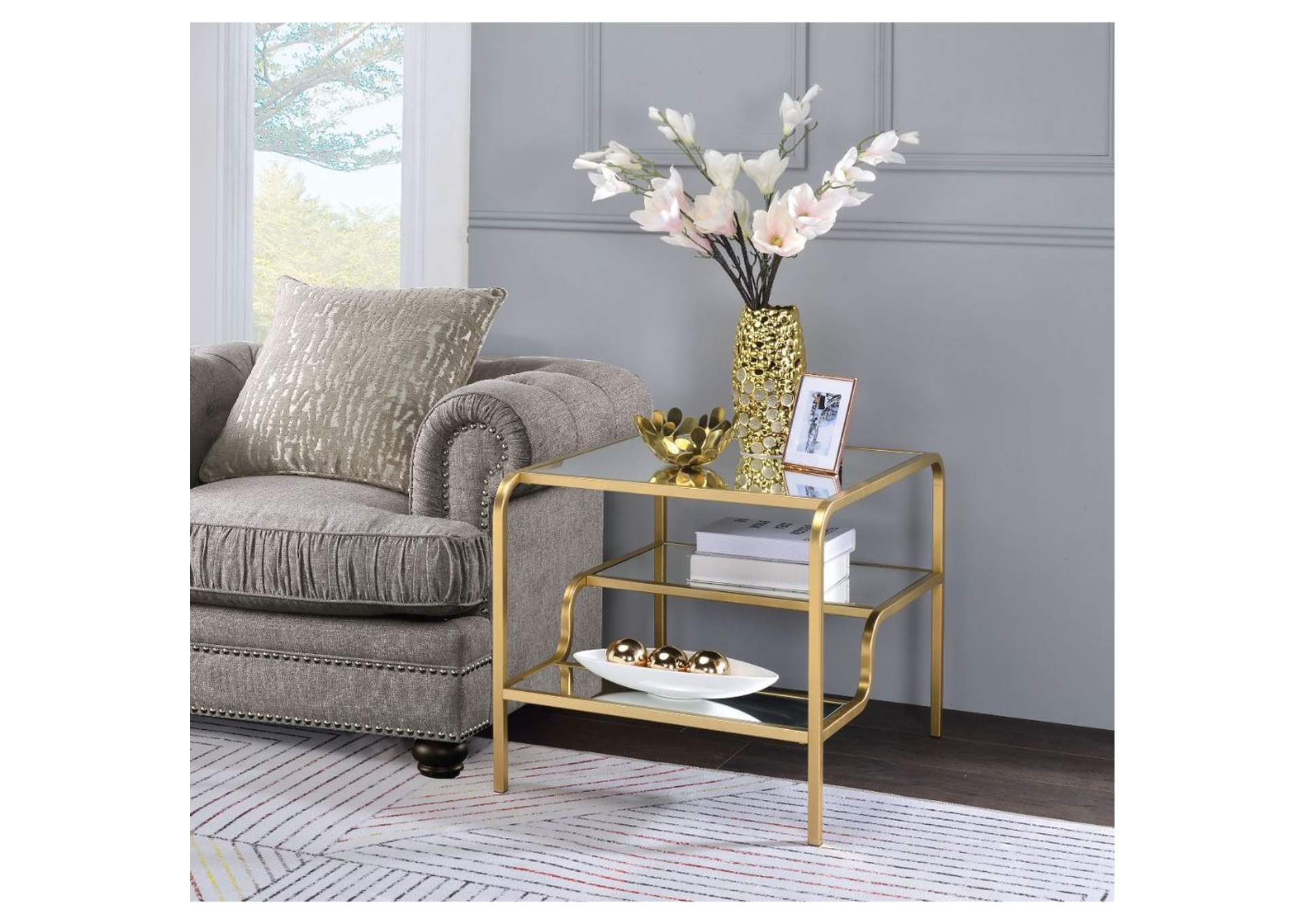 Astrid Gold & Mirror End Table,Acme