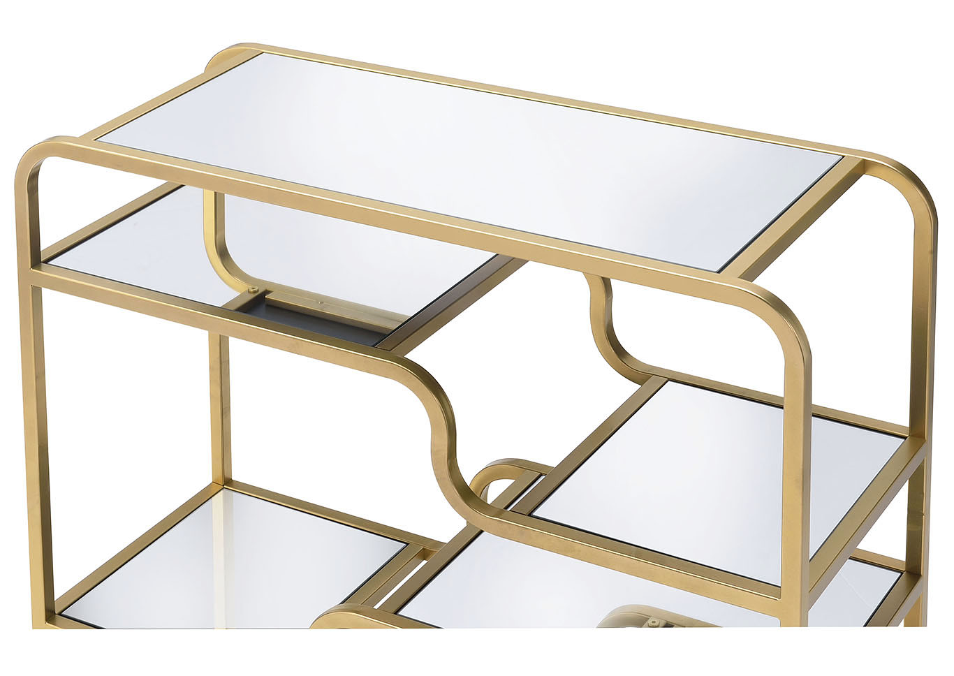 Astrid Gold & Mirror Accent Table,Acme