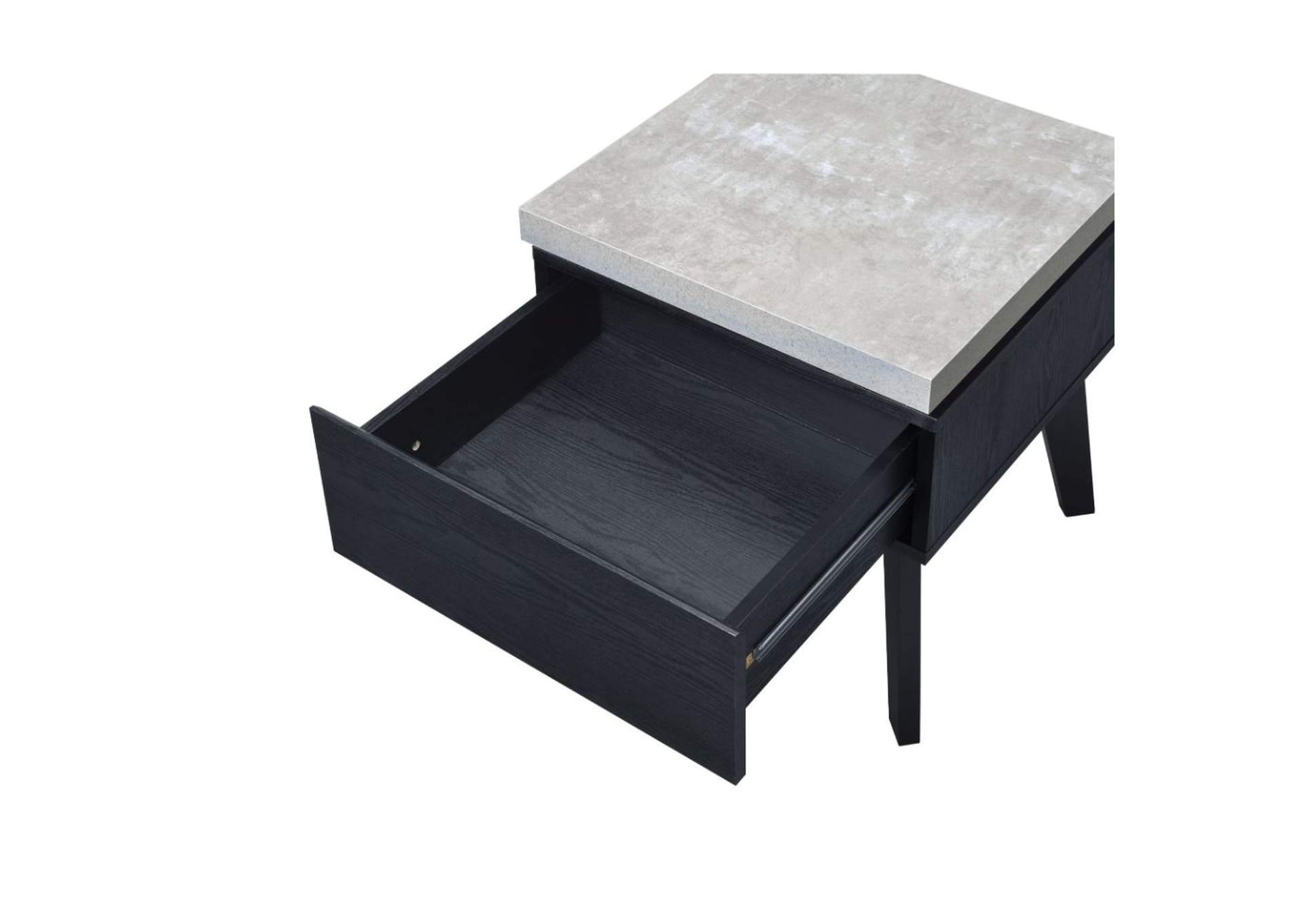 Magna Faux Concrete & Black End Table,Acme