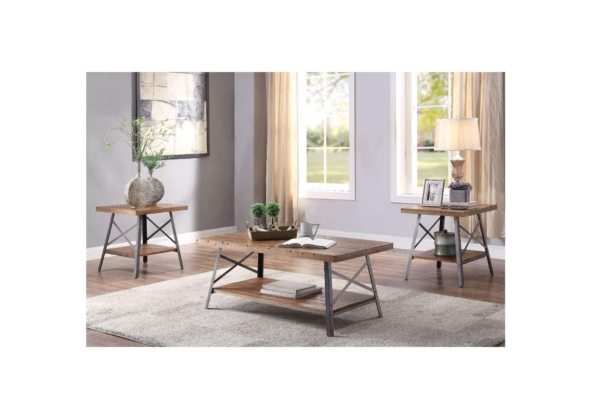 Ikram Weathered Oak & Sandy Black Coffee Table,Acme