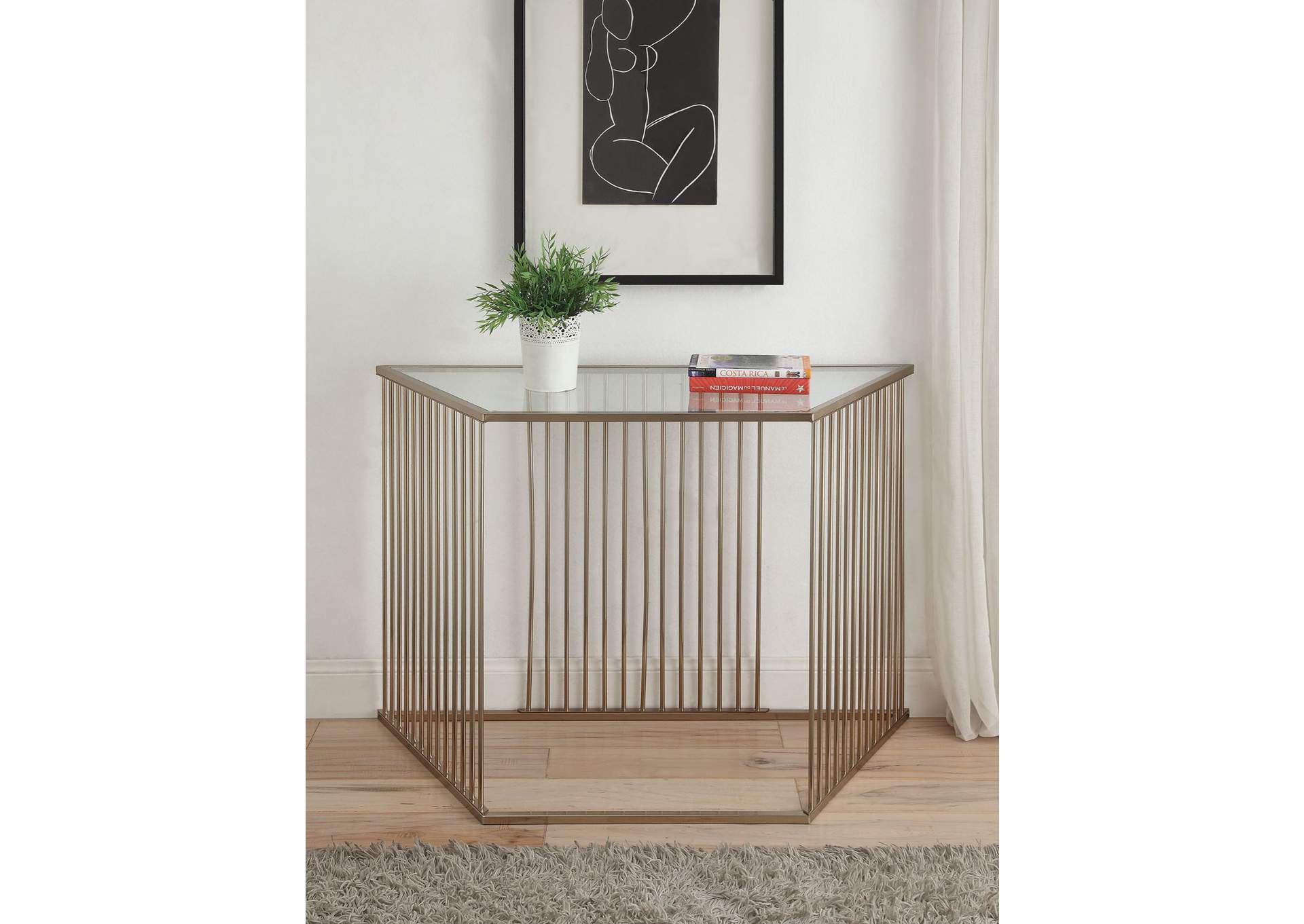 Oaklie Champagne Console Table,Acme