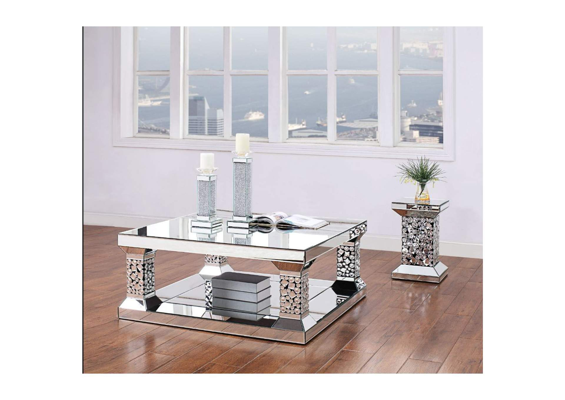 Kachina Mirrored & Faux Gems Coffee Table,Acme