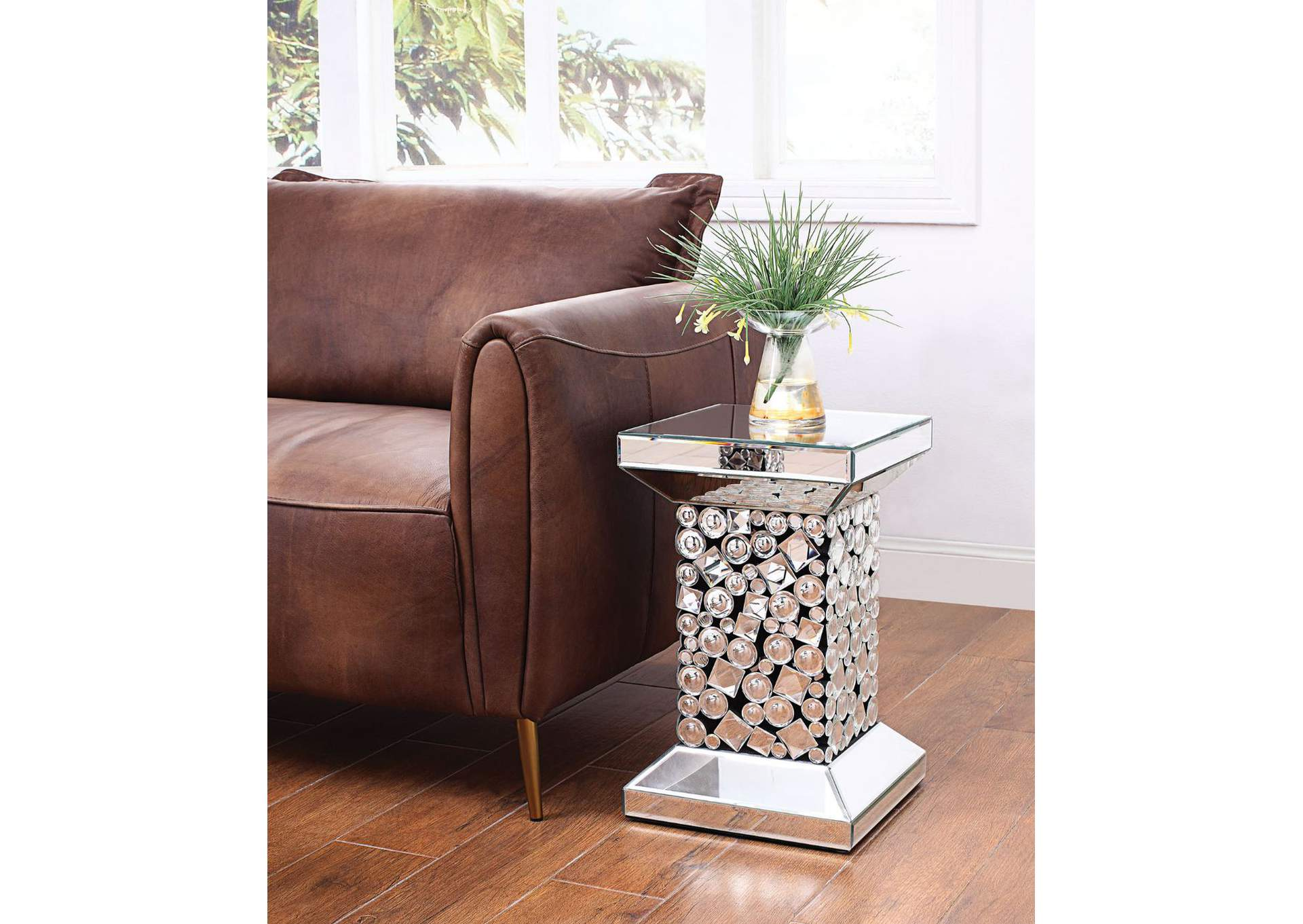 Kachina Mirrored & Faux Gems End Table,Acme