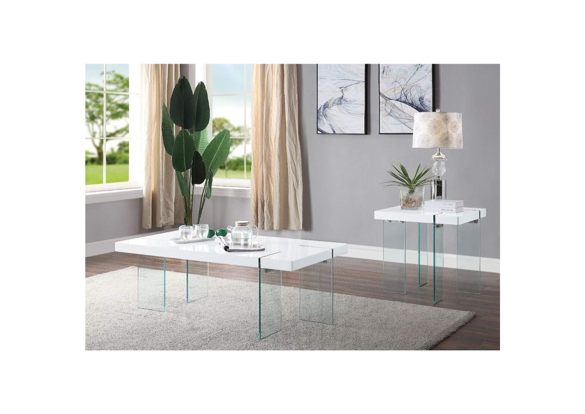 Noland White High Gloss & Clear Glass Coffee Table,Acme