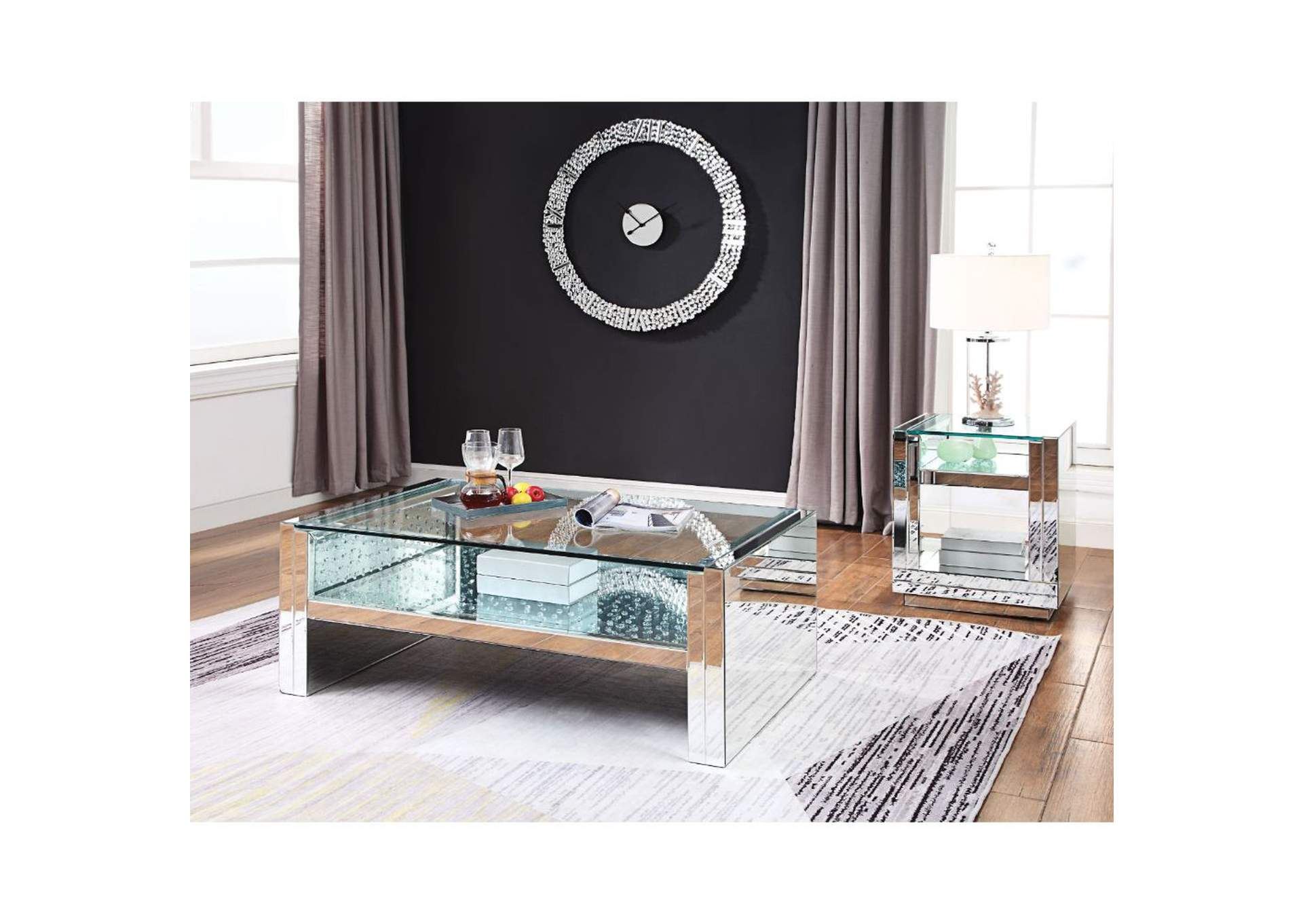 Nysa Mirrored & Faux Crystals Coffee Table,Acme
