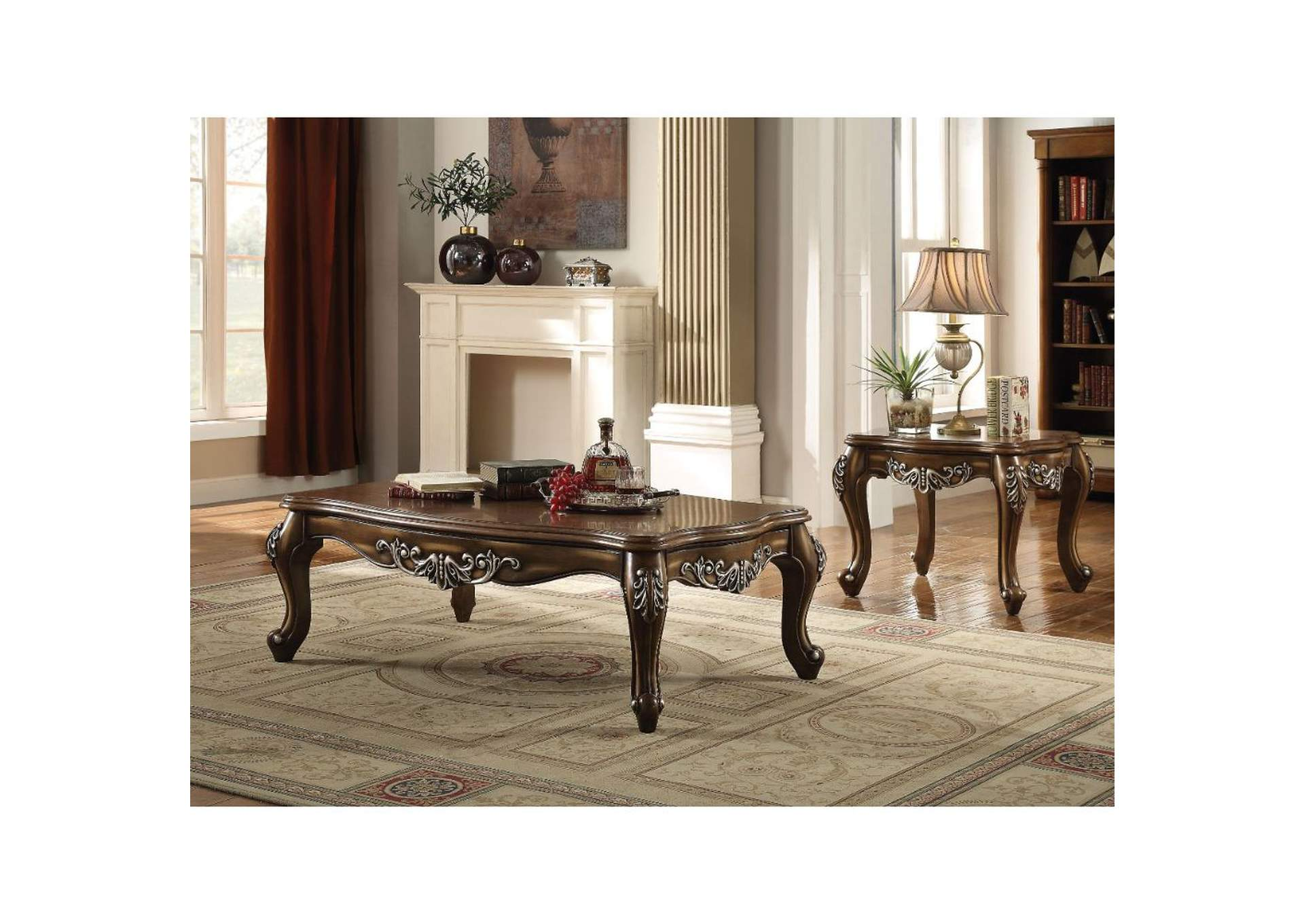 Elhan Cherry 3 Piece Coffee and End Table Set,Acme
