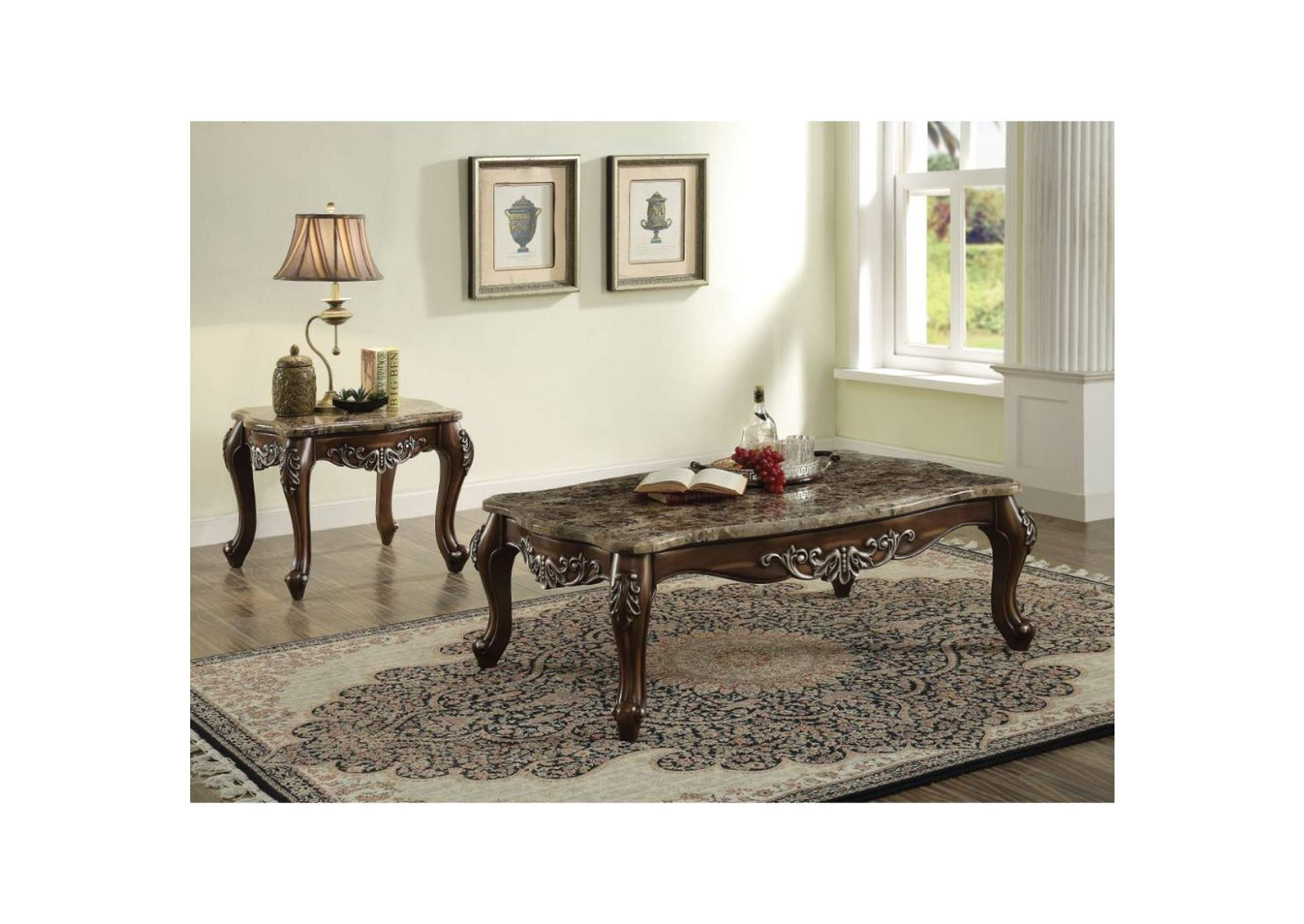 Latisha Marble & Antique Oak Coffee Table,Acme