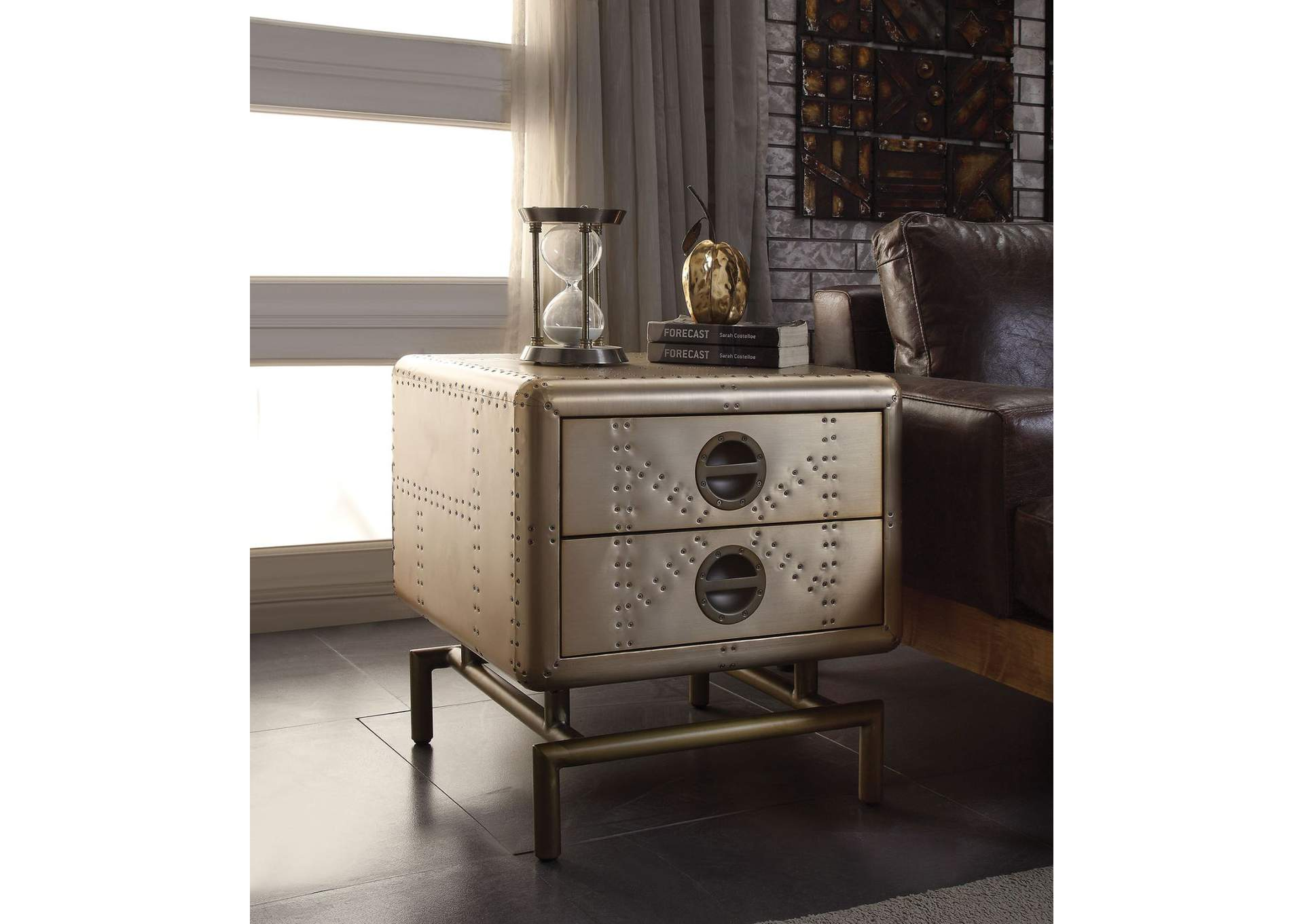 Jennavieve Gold Aluminum End Table,Acme