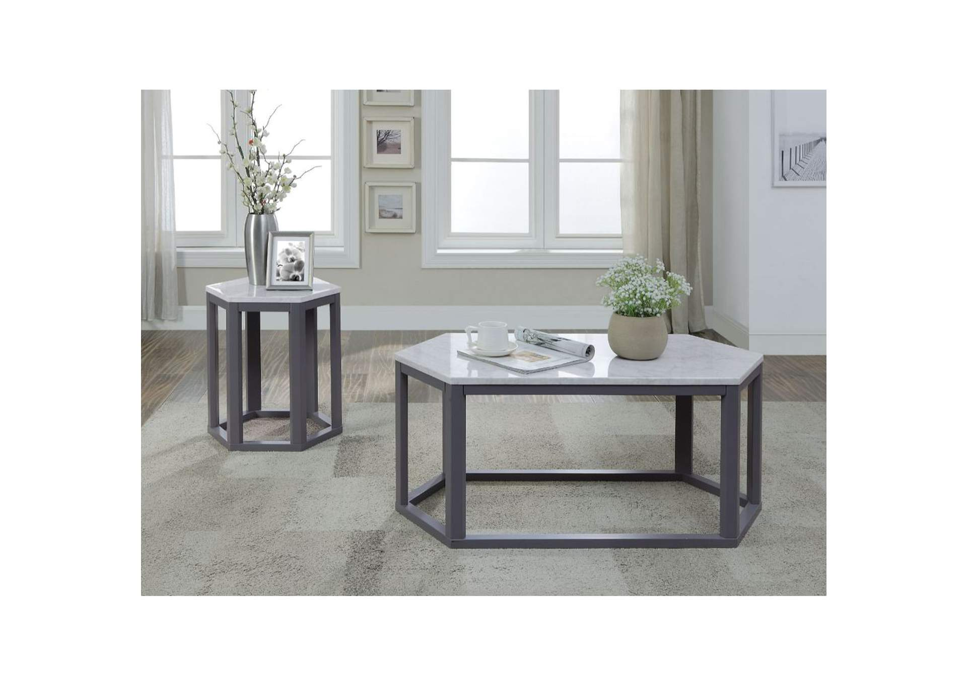 Reon Marble & Gray Coffee Table,Acme