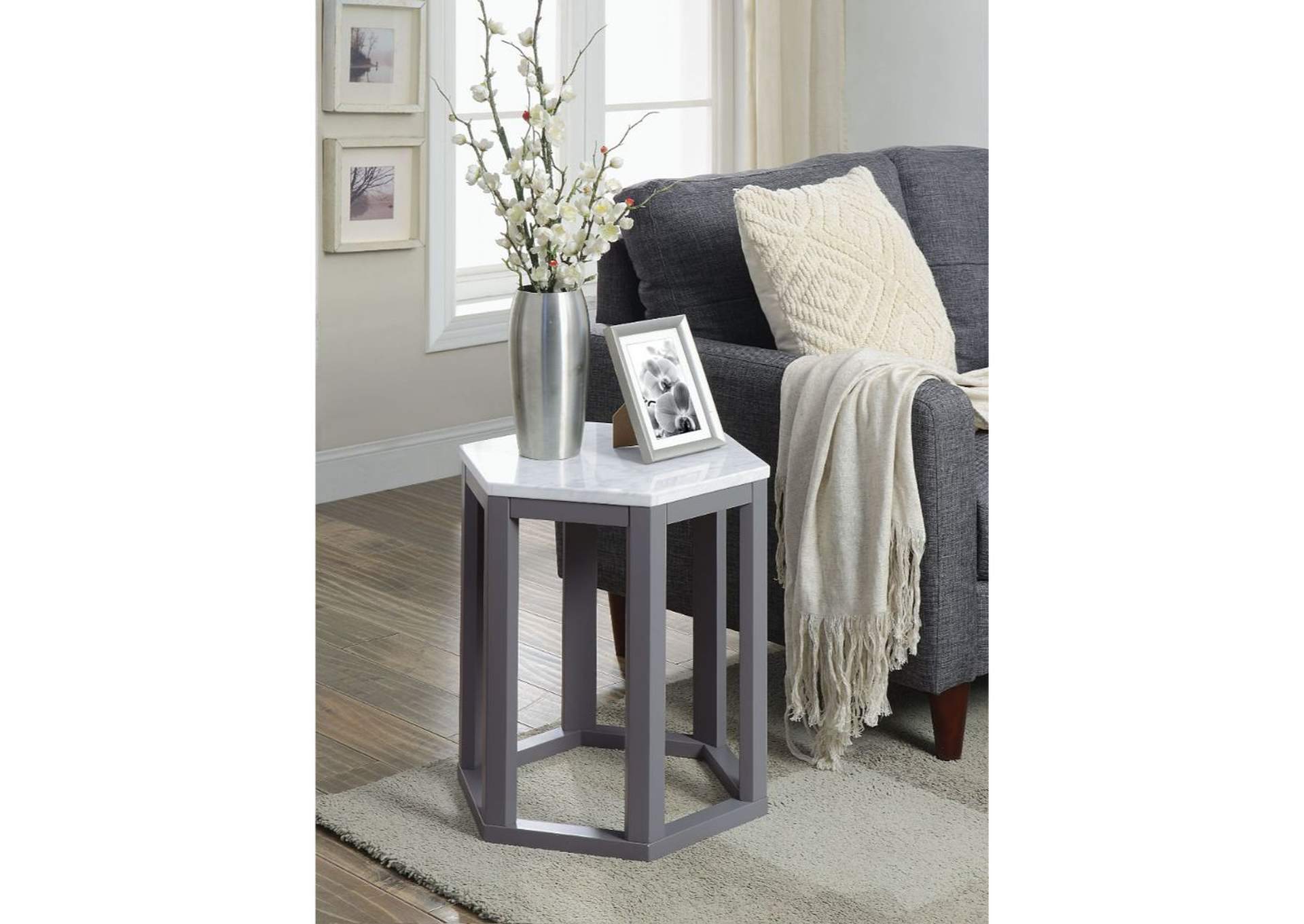 Reon Marble & Gray Accent Table,Acme